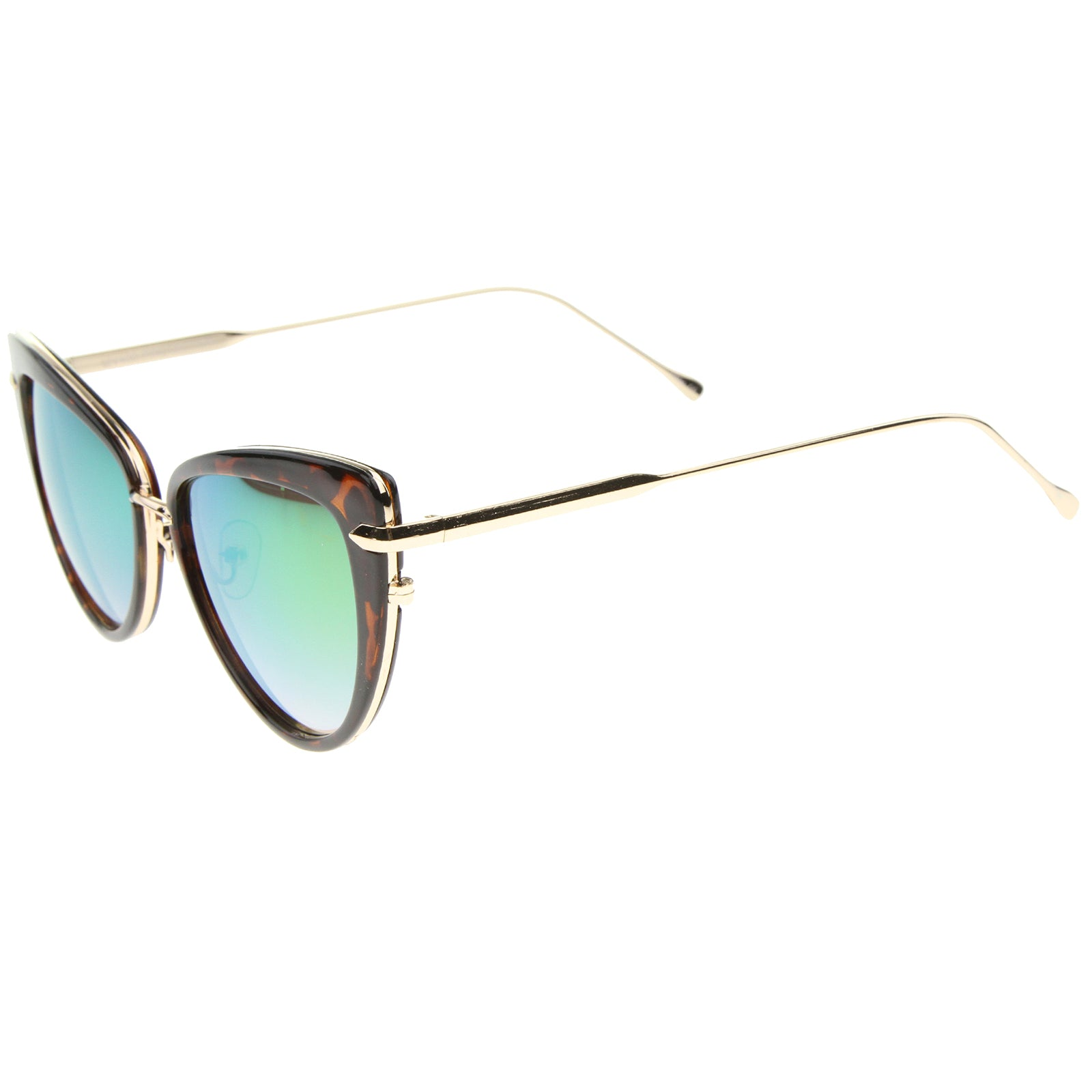 Women's High Fashion Metal Temple Super Cat Eye Sunglasses 55mm - sunglass.la - 7