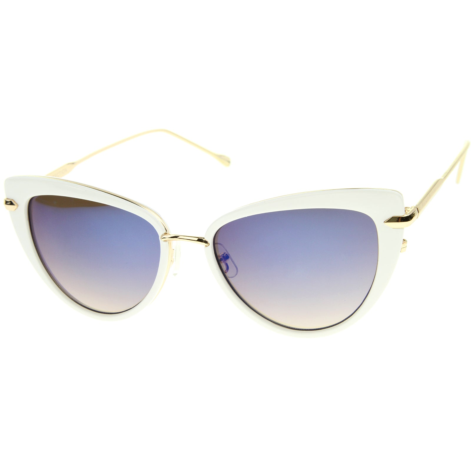 Women's High Fashion Metal Temple Super Cat Eye Sunglasses 55mm - sunglass.la - 10