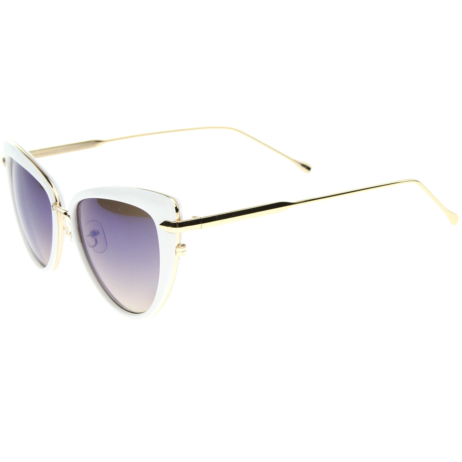 Women's High Fashion Metal Temple Super Cat Eye Sunglasses 55mm - sunglass.la - 11