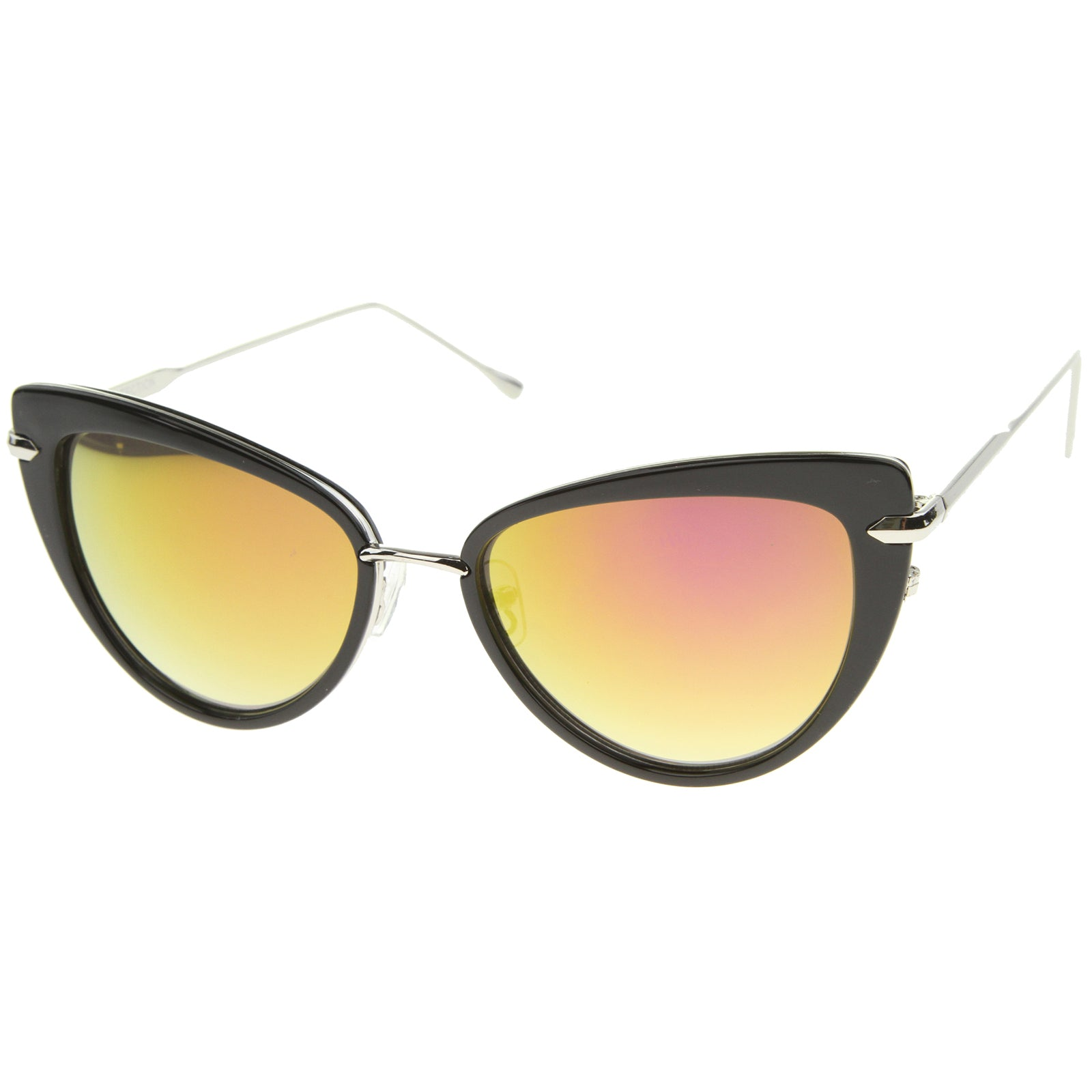 Women's High Fashion Metal Temple Super Cat Eye Sunglasses 55mm - sunglass.la - 14