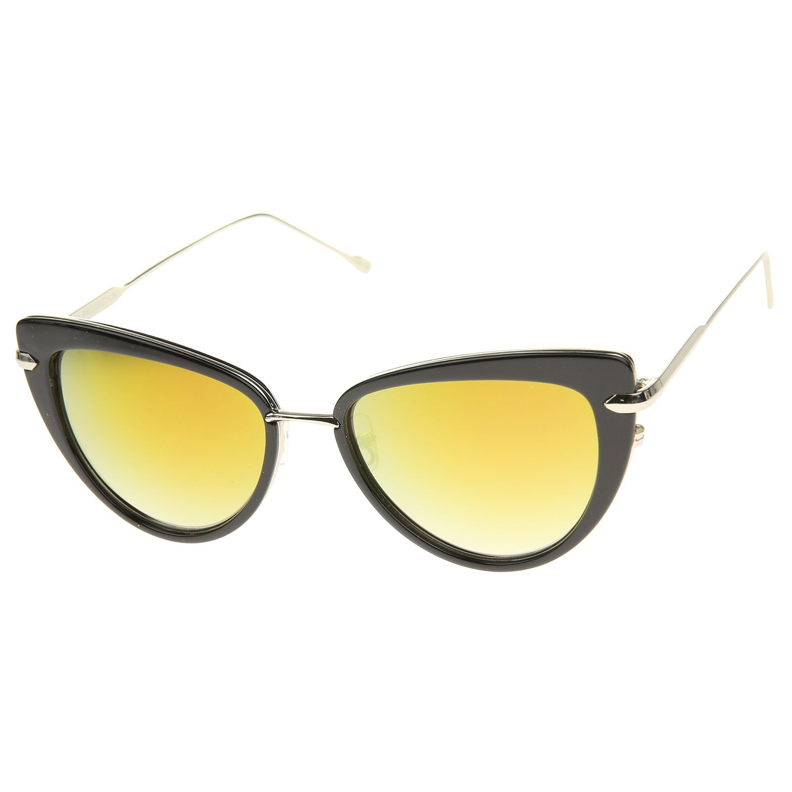 Women's High Fashion Metal Temple Super Cat Eye Sunglasses 55mm - sunglass.la - 18