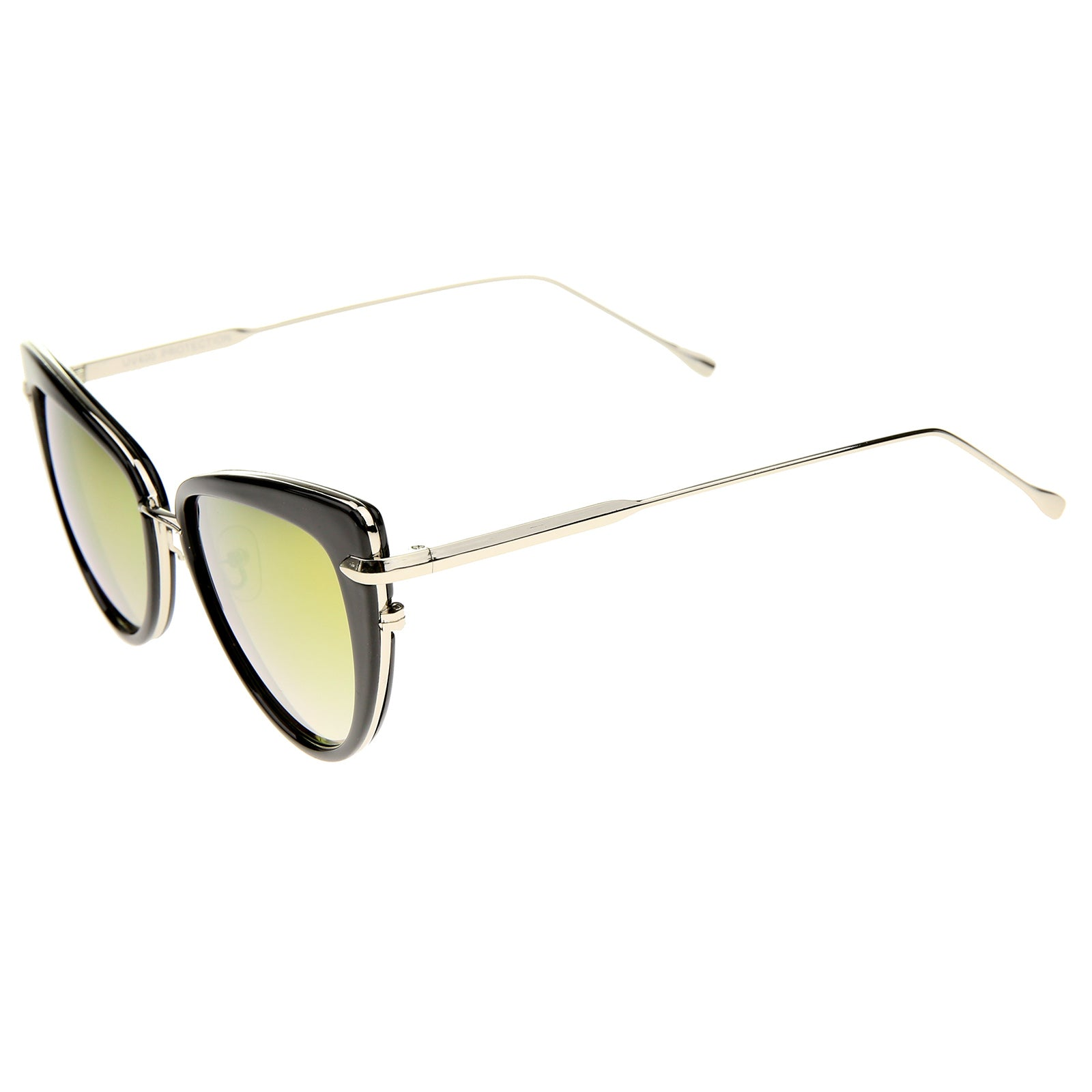 Women's High Fashion Metal Temple Super Cat Eye Sunglasses 55mm - sunglass.la - 19