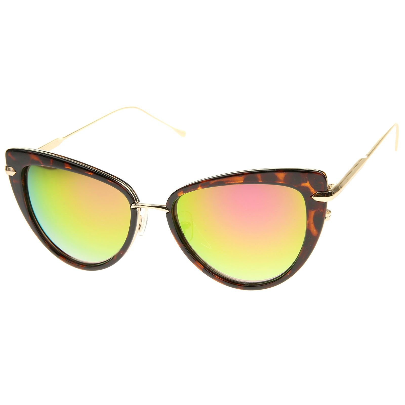 Women's High Fashion Metal Temple Super Cat Eye Sunglasses 55mm - sunglass.la - 22