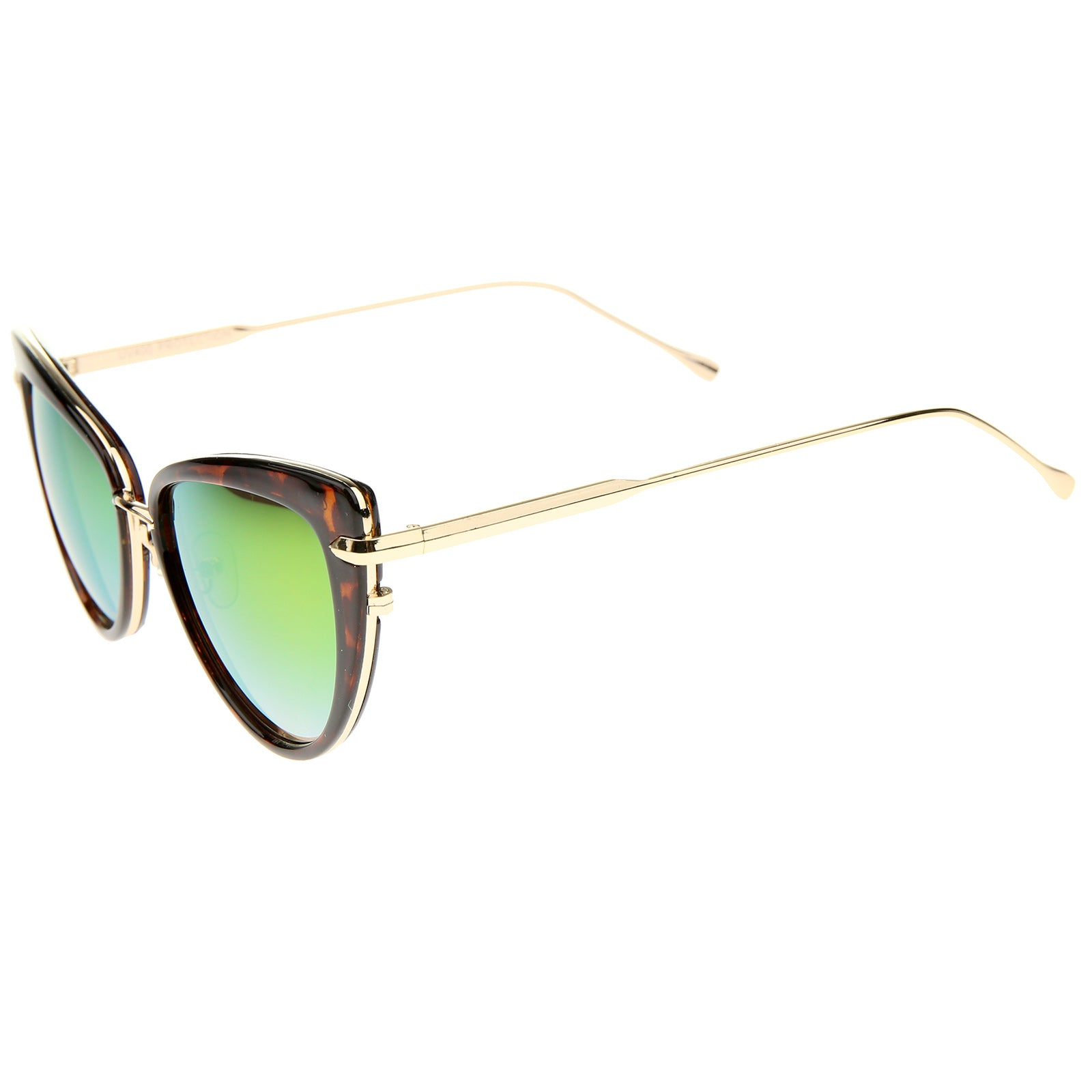 Women's High Fashion Metal Temple Super Cat Eye Sunglasses 55mm - sunglass.la - 23
