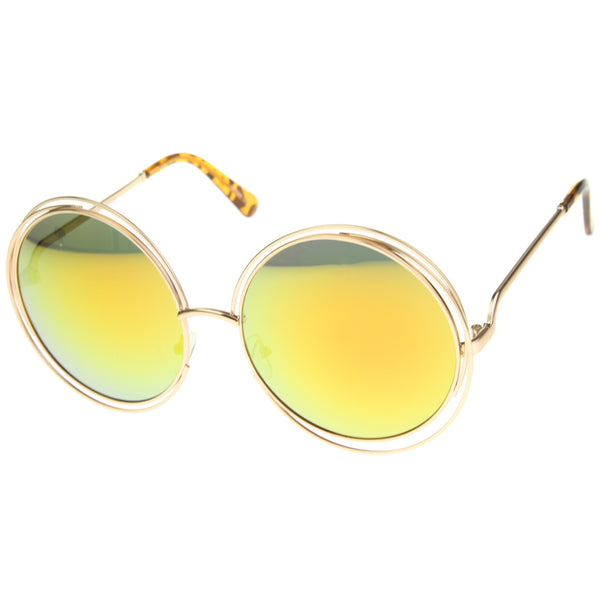 Women's High Fashion Oversize Wire Frame Mirror Lens Round Sunglasses 61mm - sunglass.la - 1