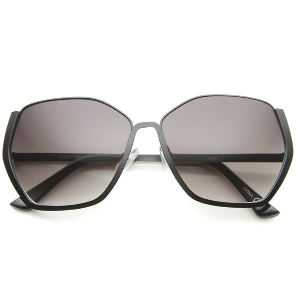 Women's Semi-Rimless Hexagonal Geometric Oversize Sunglasses 59mm - sunglass.la - 1