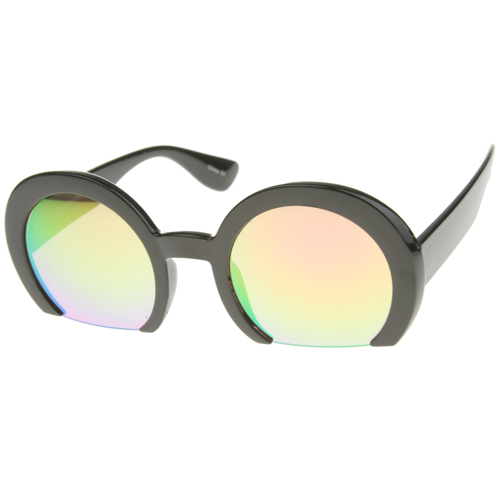 Women's Oversize Semi-Rimless Flat Bottom Mirror Lens Round Sunglasses 56mm - sunglass.la - 2