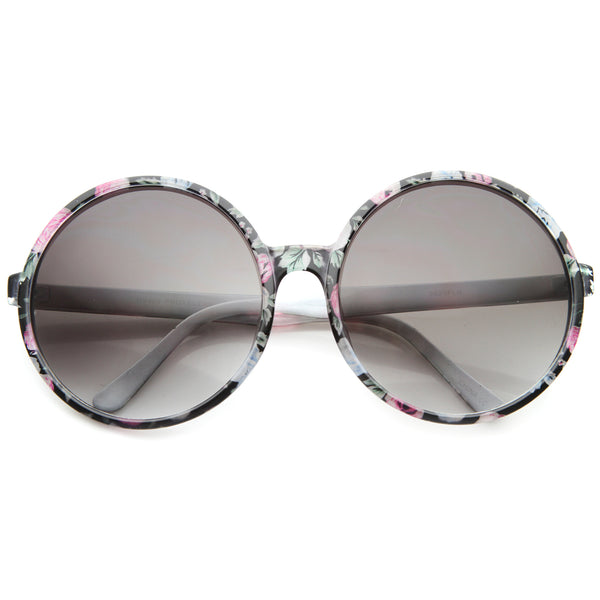 Women's Fashion Floral Print Gradient Lens Oversize Round Sunglasses 66mm - sunglass.la - 1