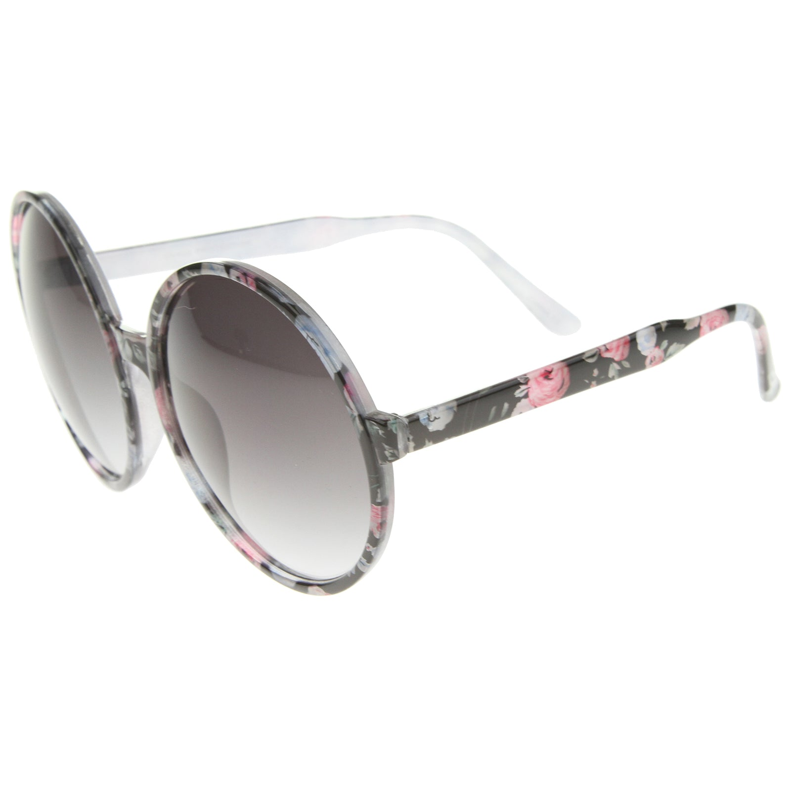 Women's Fashion Floral Print Gradient Lens Oversize Round Sunglasses 66mm - sunglass.la - 3