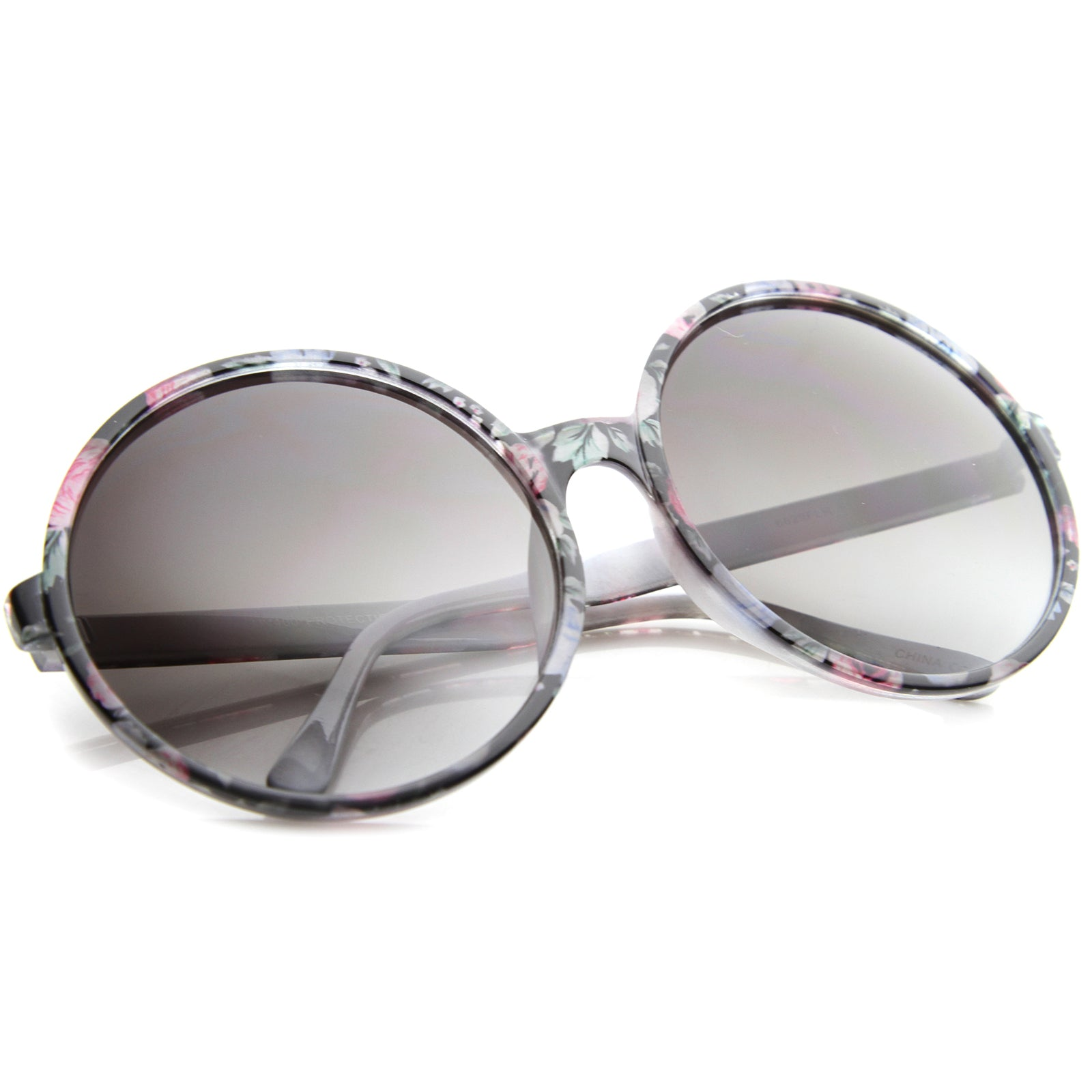 Women's Fashion Floral Print Gradient Lens Oversize Round Sunglasses 66mm - sunglass.la - 4