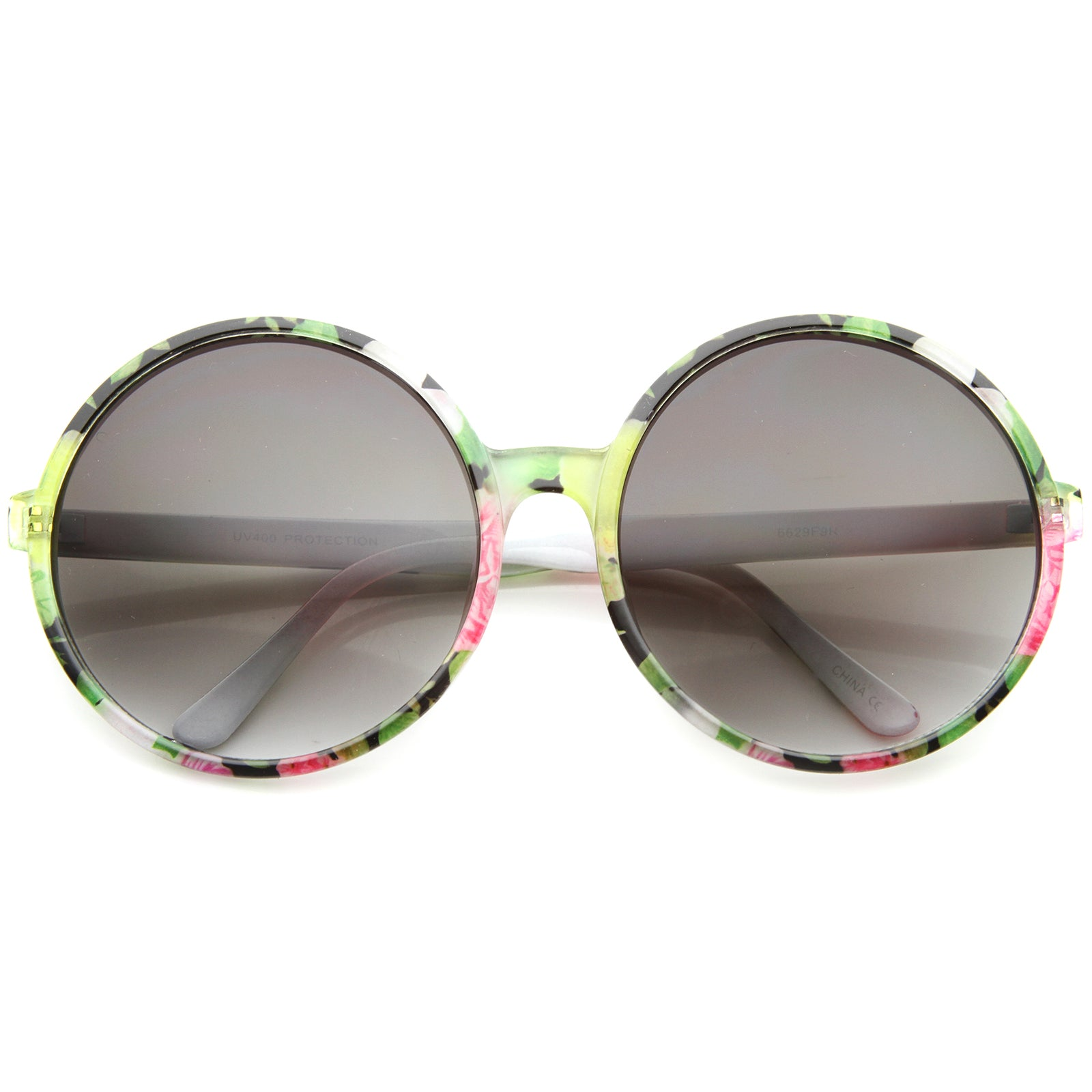 Women's Fashion Floral Print Gradient Lens Oversize Round Sunglasses 66mm - sunglass.la - 5