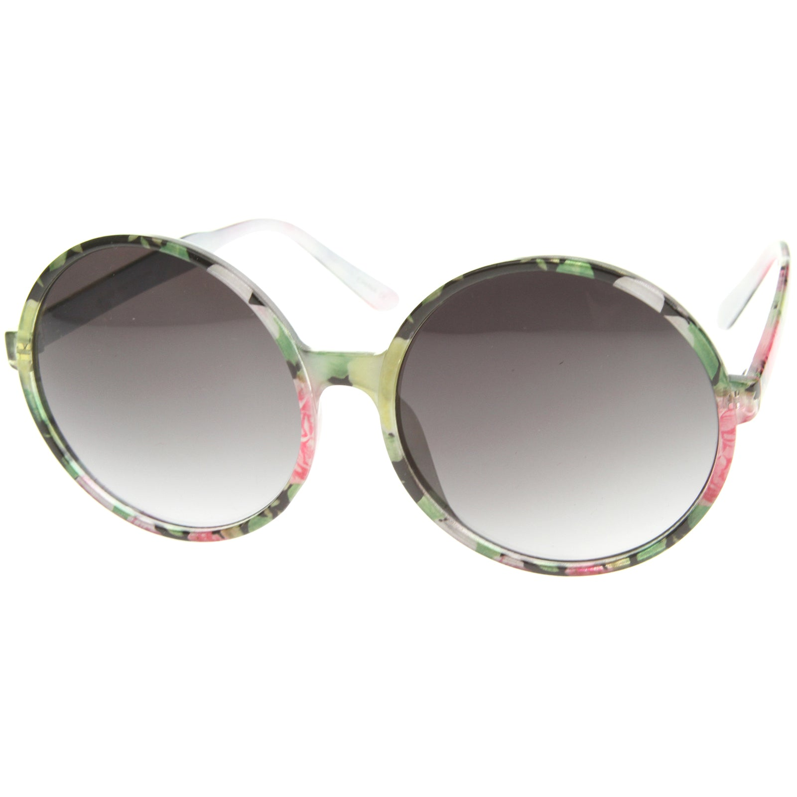 Women's Fashion Floral Print Gradient Lens Oversize Round Sunglasses 66mm - sunglass.la - 6