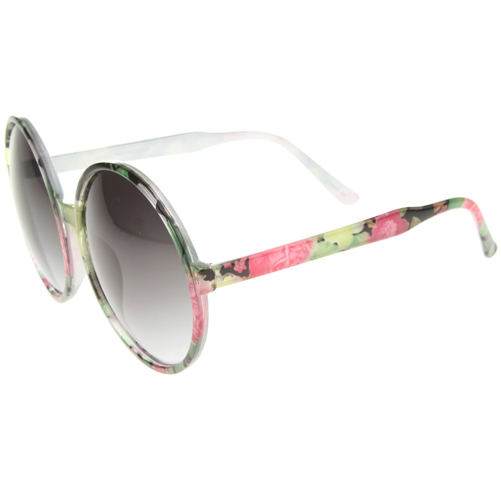 Women's Fashion Floral Print Gradient Lens Oversize Round Sunglasses 66mm - sunglass.la - 7