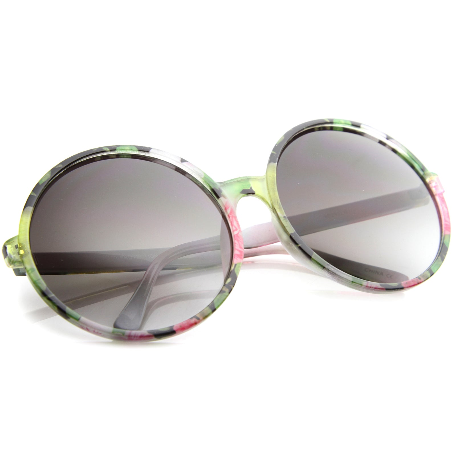 Women's Fashion Floral Print Gradient Lens Oversize Round Sunglasses 66mm - sunglass.la - 8