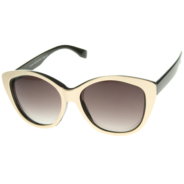 Women's High Fashion Two-Toned Tinted Lens Oversize Cat Eye Sunglasses 55mm - sunglass.la - 1