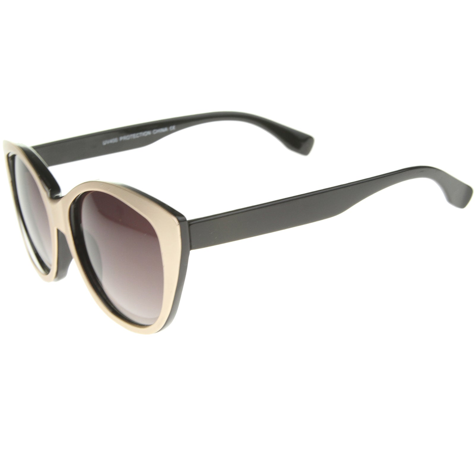 Women's High Fashion Two-Toned Tinted Lens Oversize Cat Eye Sunglasses 55mm - sunglass.la - 3