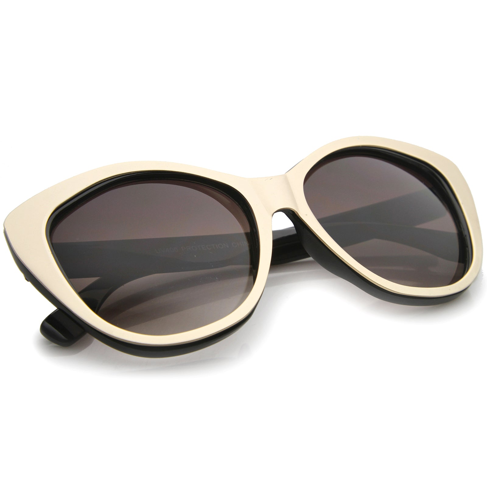 Women's High Fashion Two-Toned Tinted Lens Oversize Cat Eye Sunglasses 55mm - sunglass.la - 4