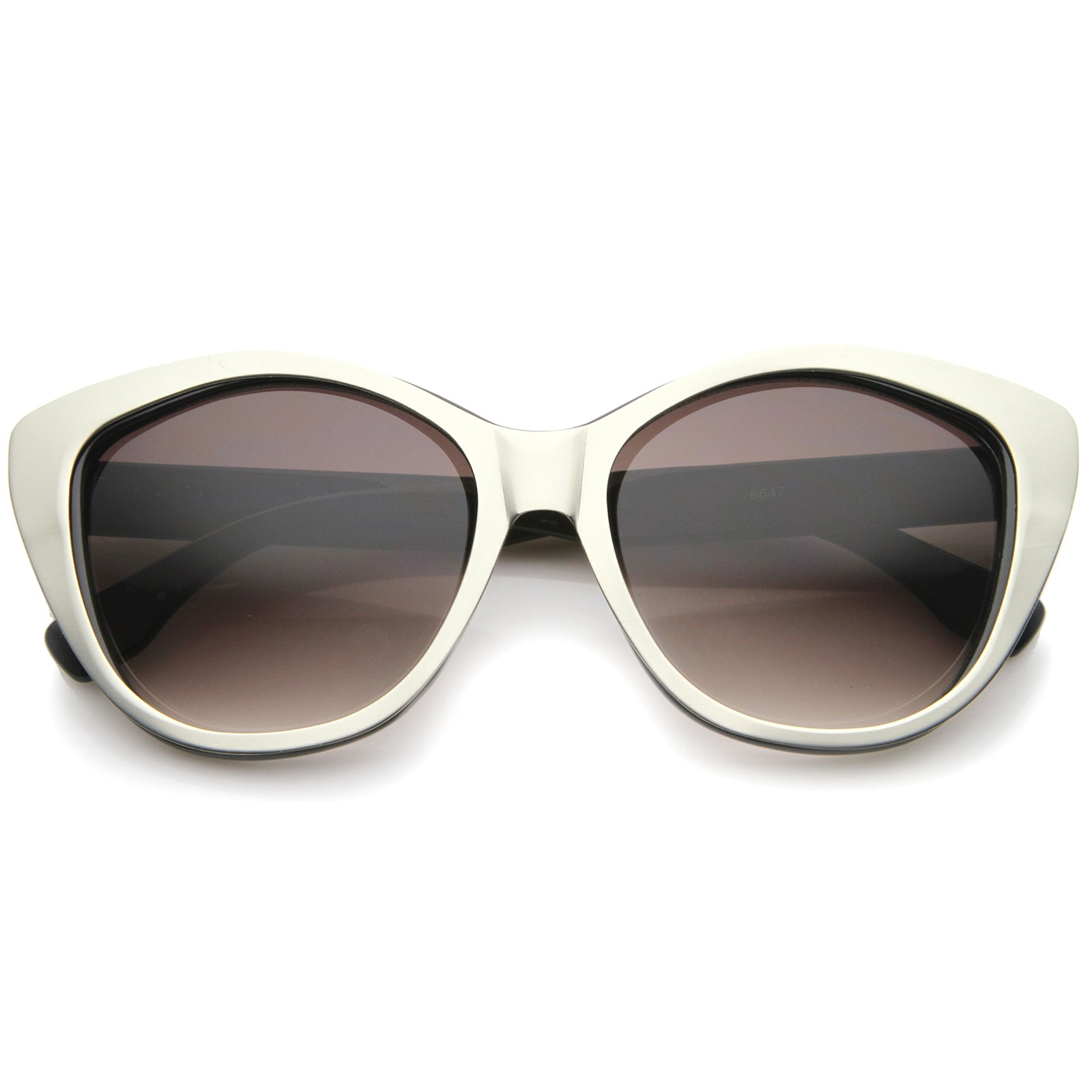 Women's High Fashion Two-Toned Tinted Lens Oversize Cat Eye Sunglasses 55mm - sunglass.la - 5