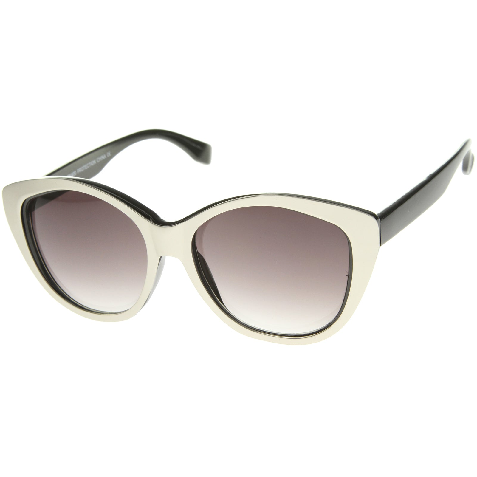 Women's High Fashion Two-Toned Tinted Lens Oversize Cat Eye Sunglasses 55mm - sunglass.la - 6