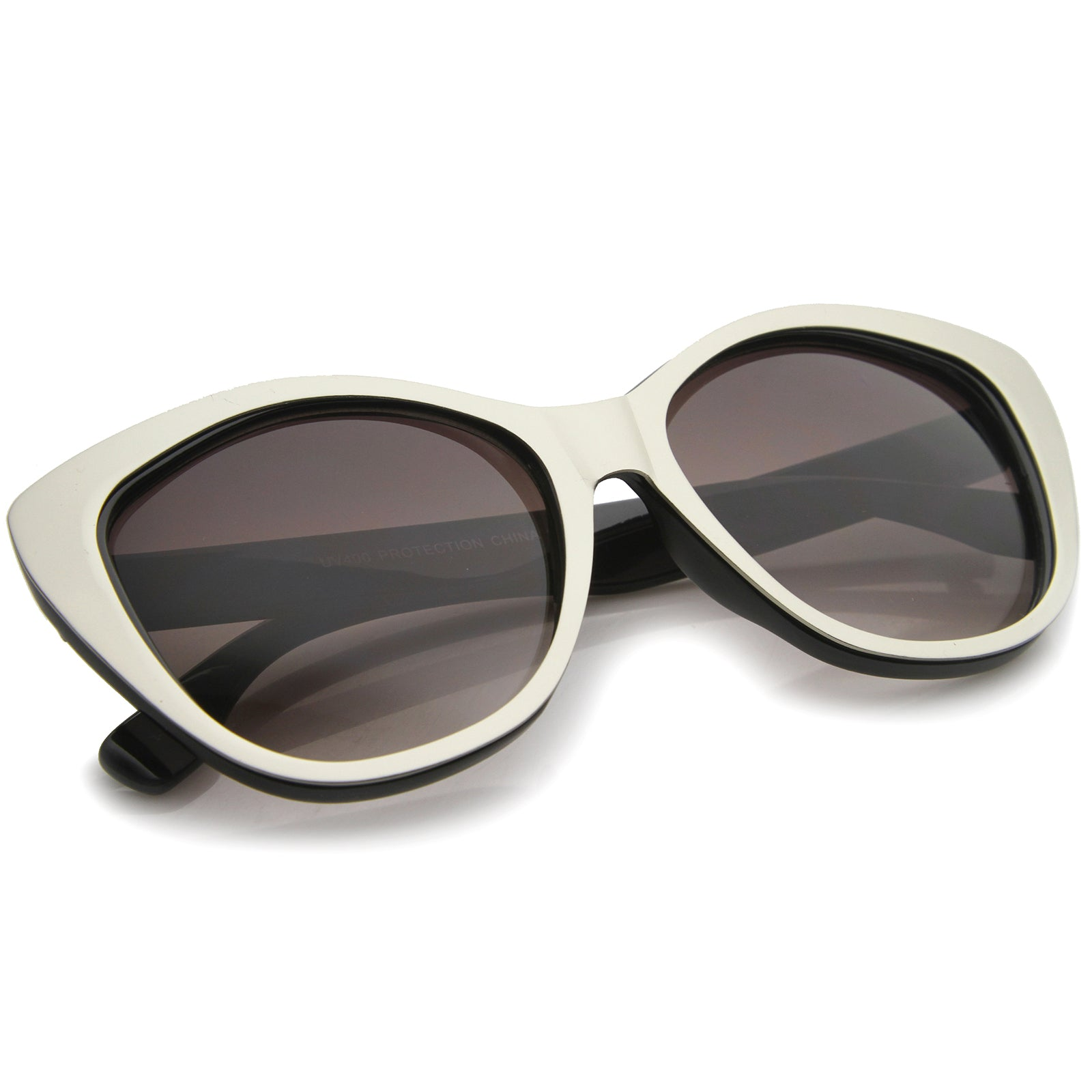 Women's High Fashion Two-Toned Tinted Lens Oversize Cat Eye Sunglasses 55mm - sunglass.la - 8