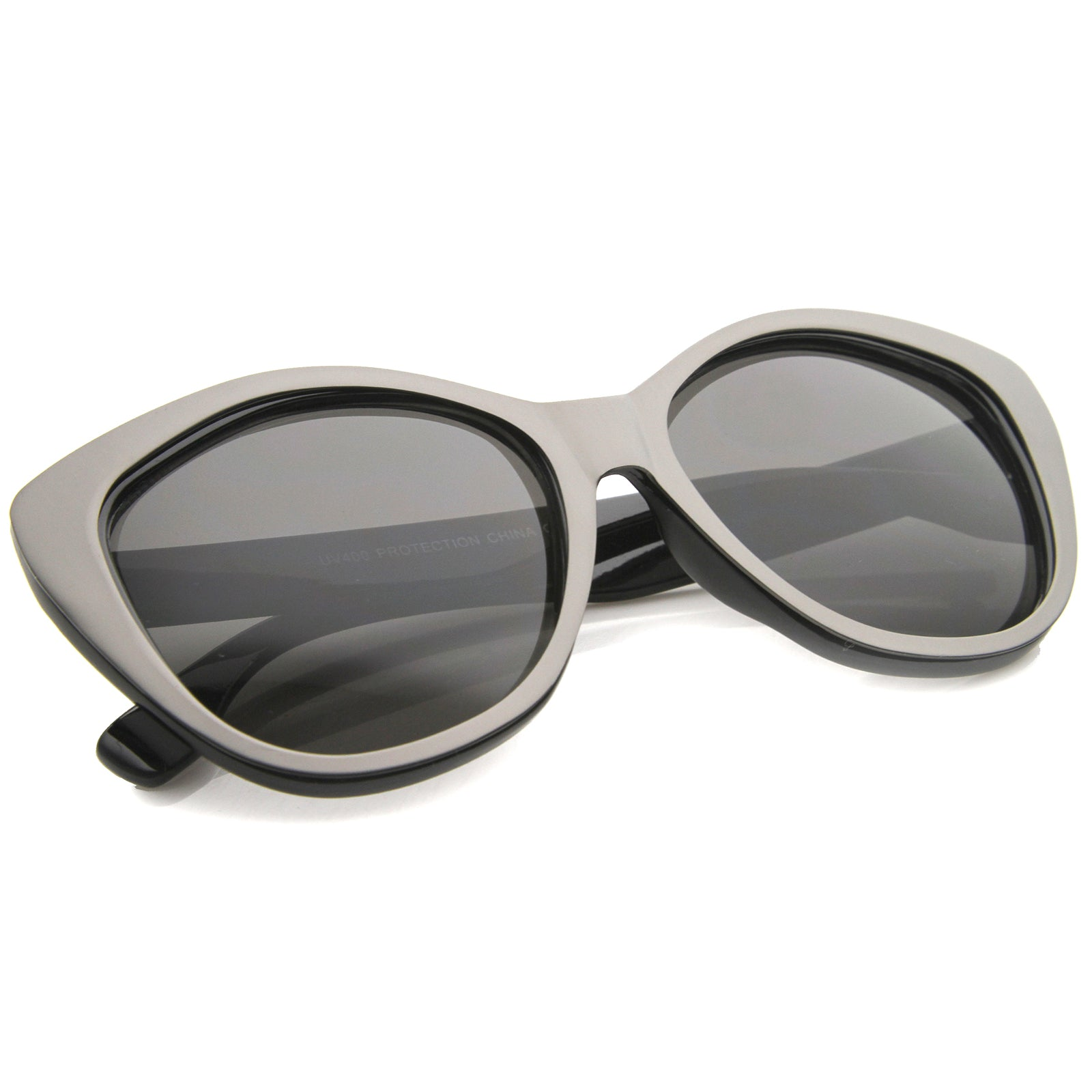 Women's High Fashion Two-Toned Tinted Lens Oversize Cat Eye Sunglasses 55mm - sunglass.la - 12