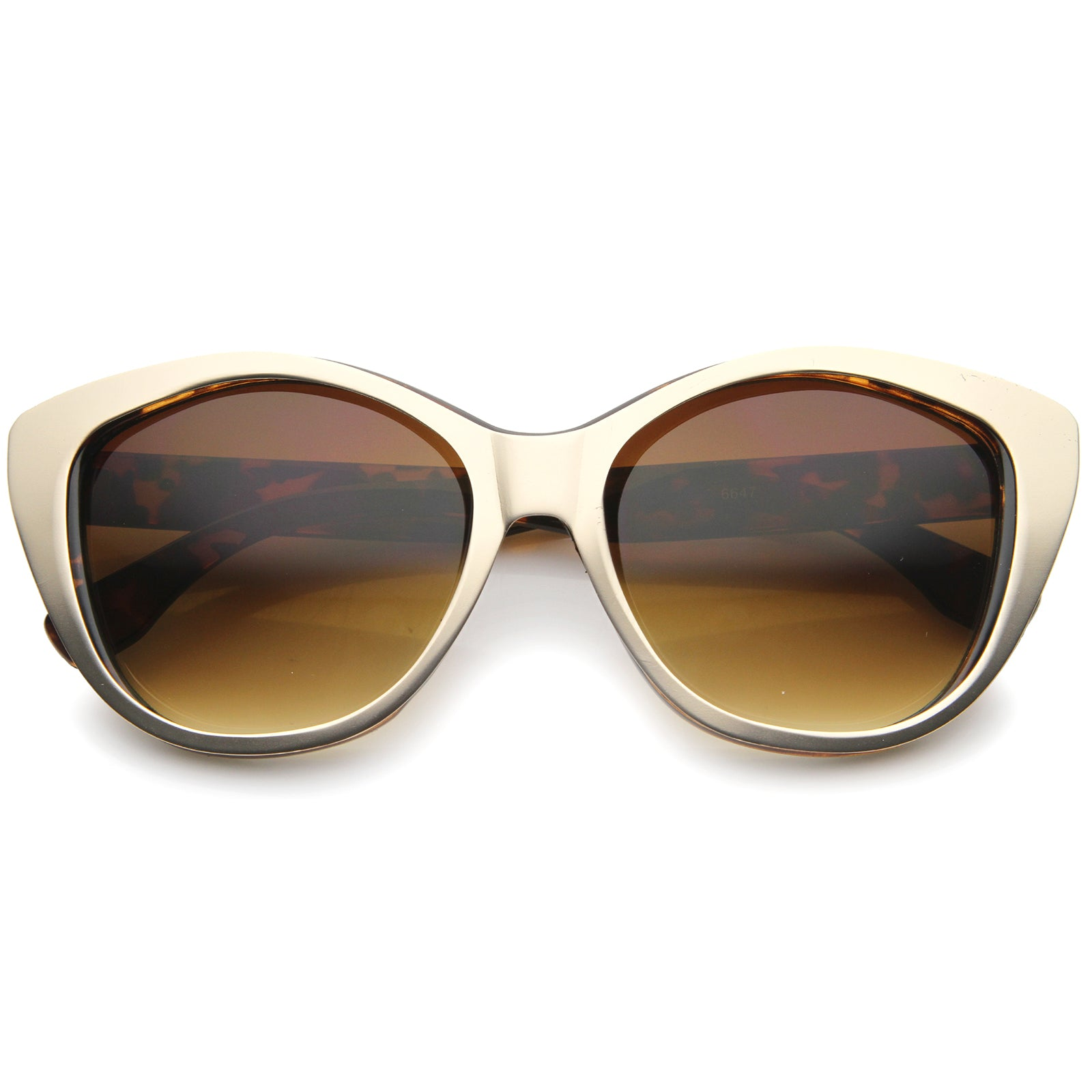 Women's High Fashion Two-Toned Tinted Lens Oversize Cat Eye Sunglasses 55mm - sunglass.la - 13