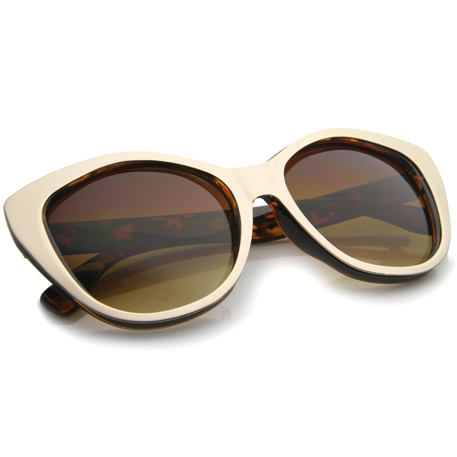 Women's High Fashion Two-Toned Tinted Lens Oversize Cat Eye Sunglasses 55mm - sunglass.la - 16