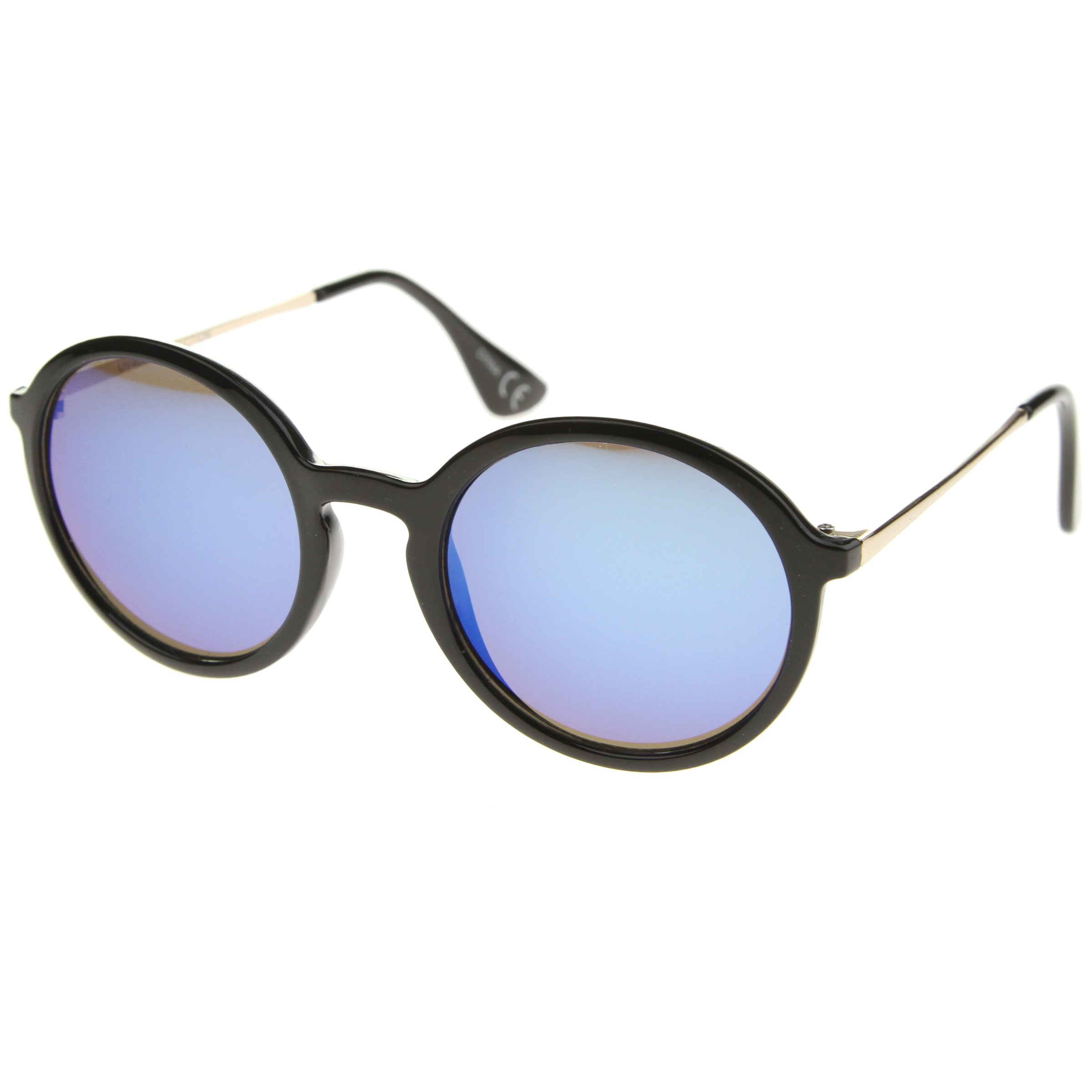 Mid Sized Modern Metal Temple Mirror Lens Round Sunglasses 49mm - sunglass.la - 2