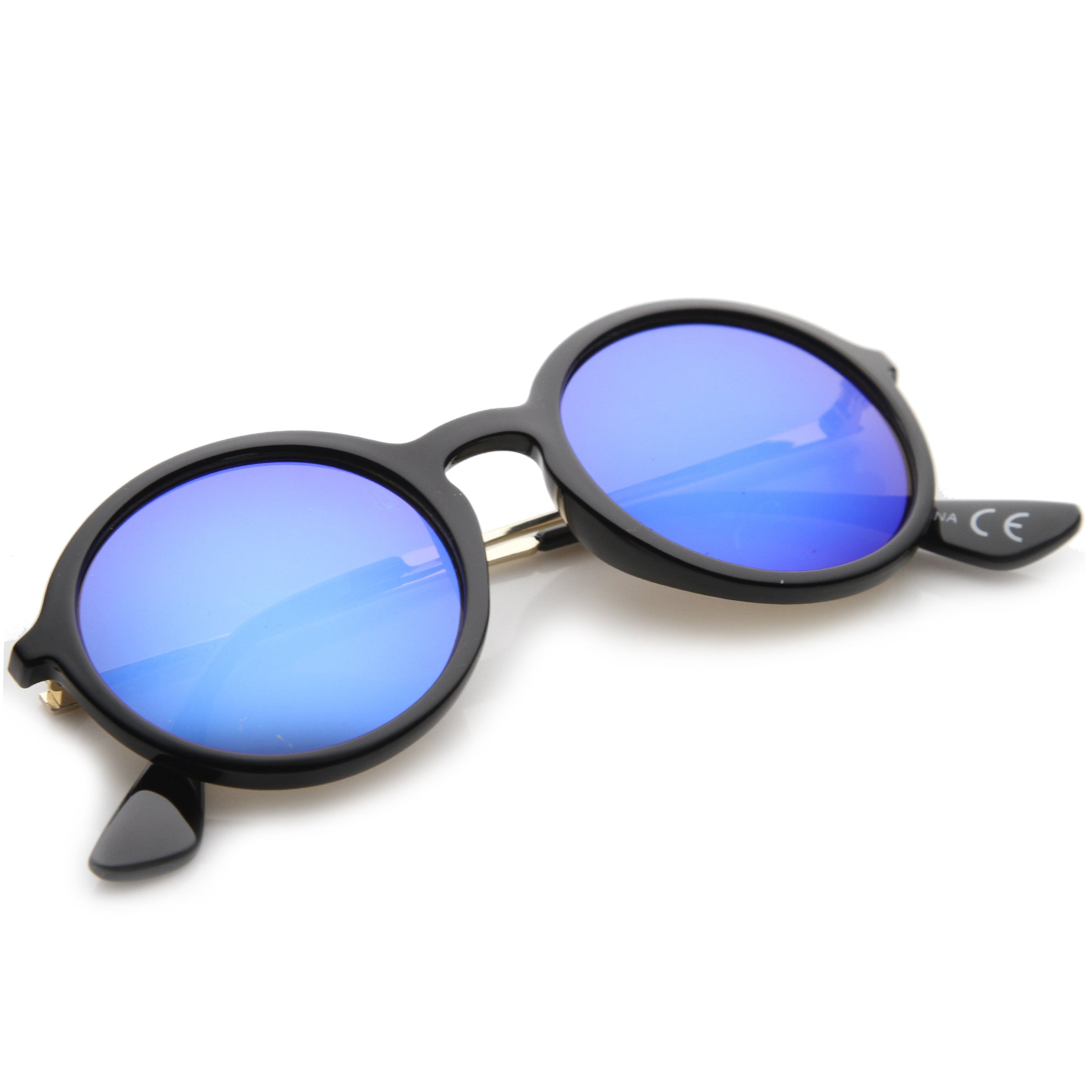 Mid Sized Modern Metal Temple Mirror Lens Round Sunglasses 49mm - sunglass.la - 4
