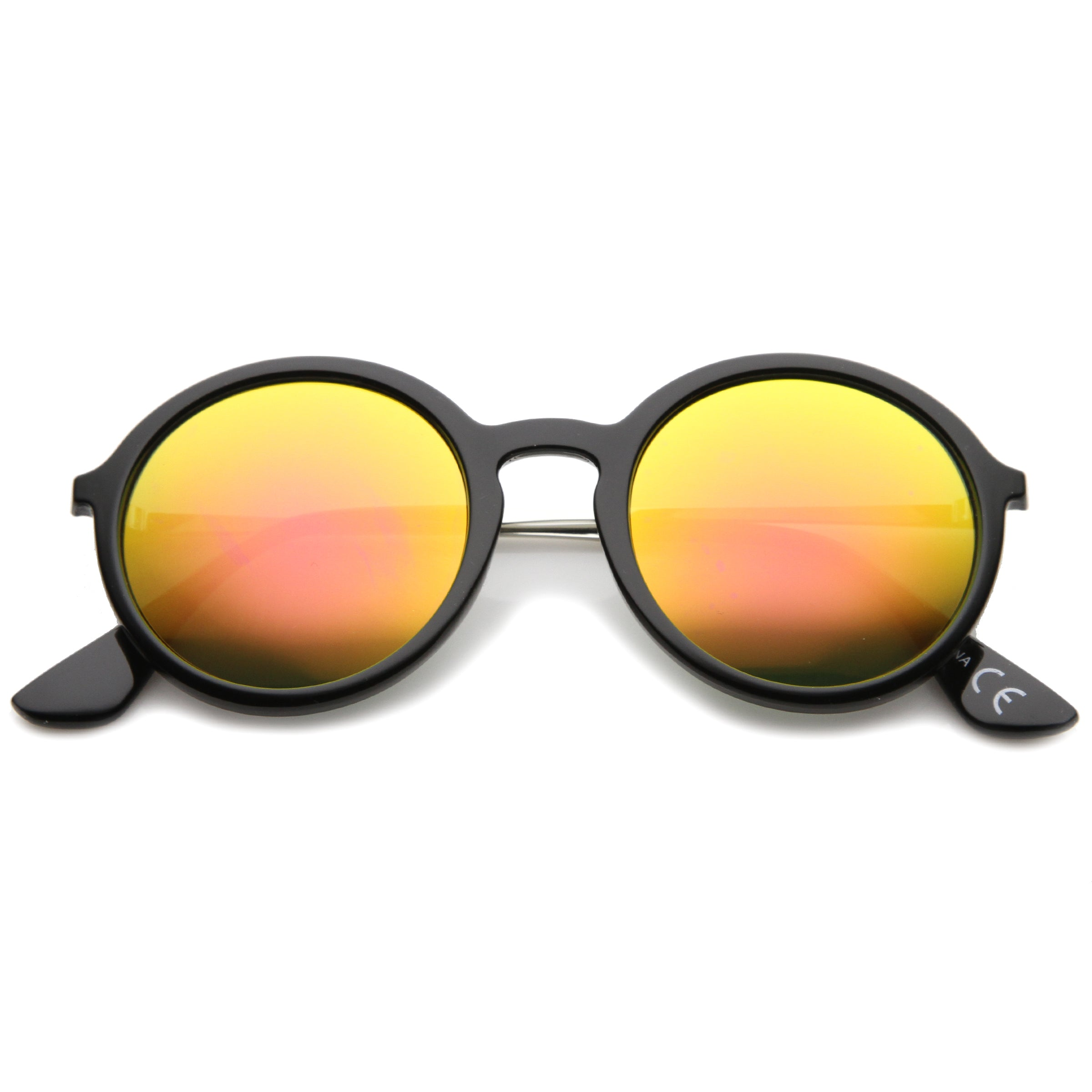 Mid Sized Modern Metal Temple Mirror Lens Round Sunglasses 49mm - sunglass.la - 13