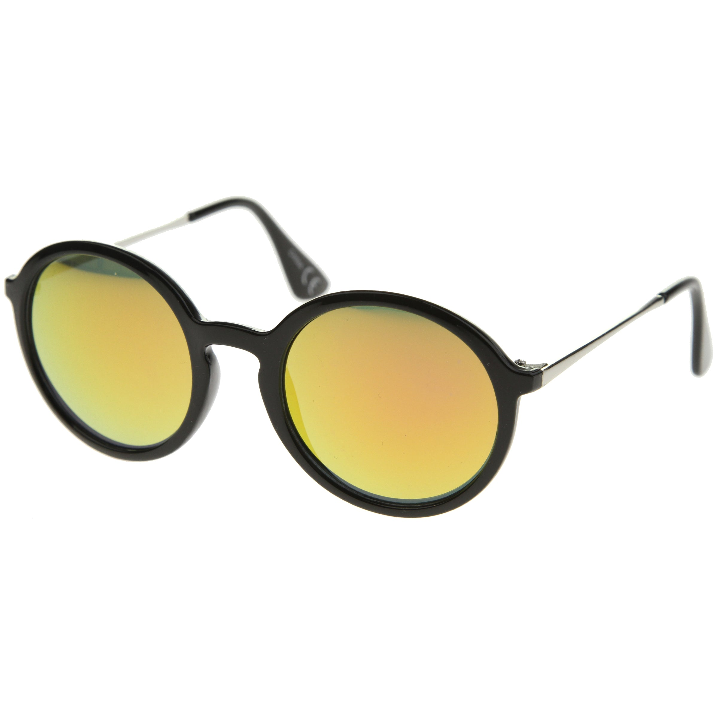 Mid Sized Modern Metal Temple Mirror Lens Round Sunglasses 49mm - sunglass.la - 14