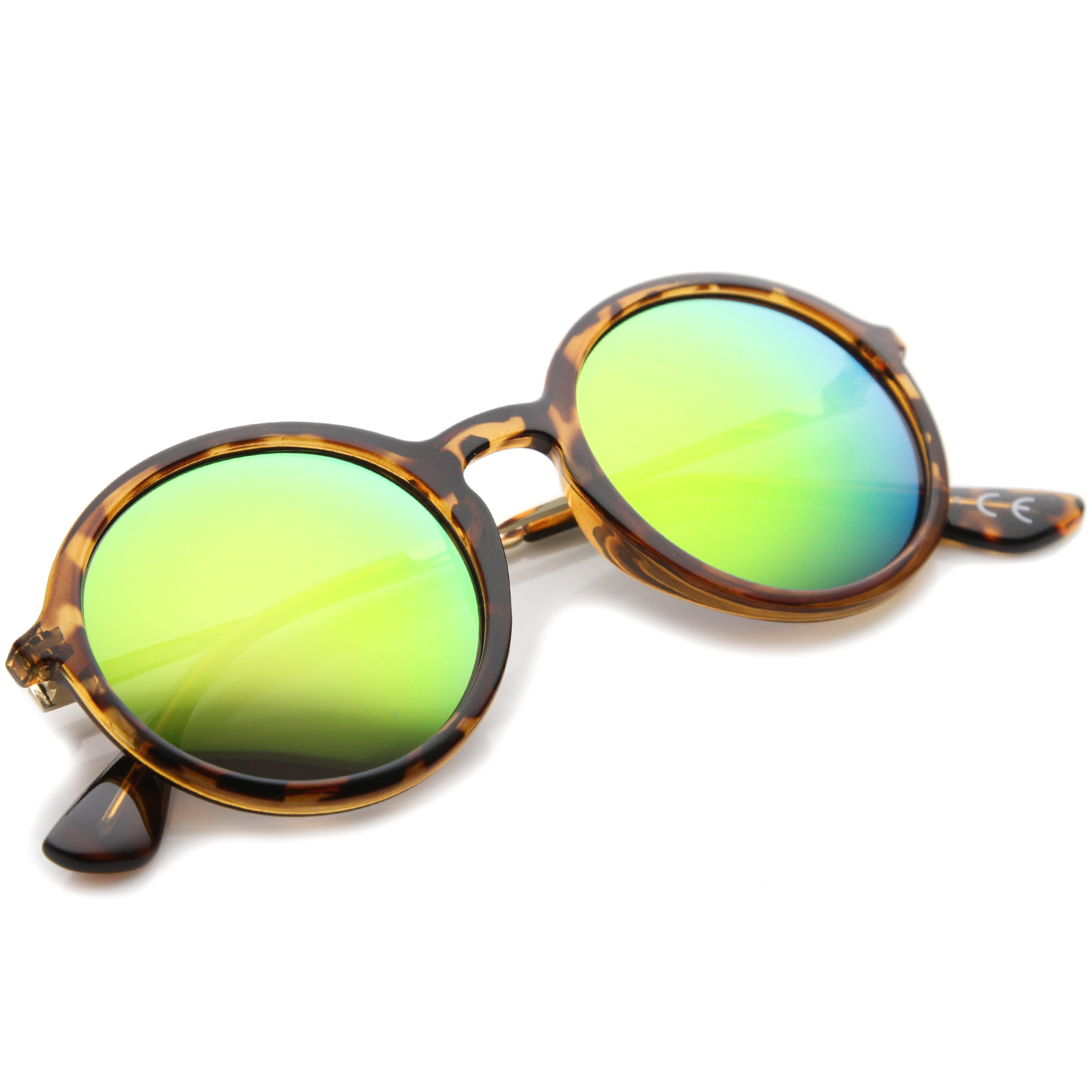 Mid Sized Modern Metal Temple Mirror Lens Round Sunglasses 49mm - sunglass.la - 20