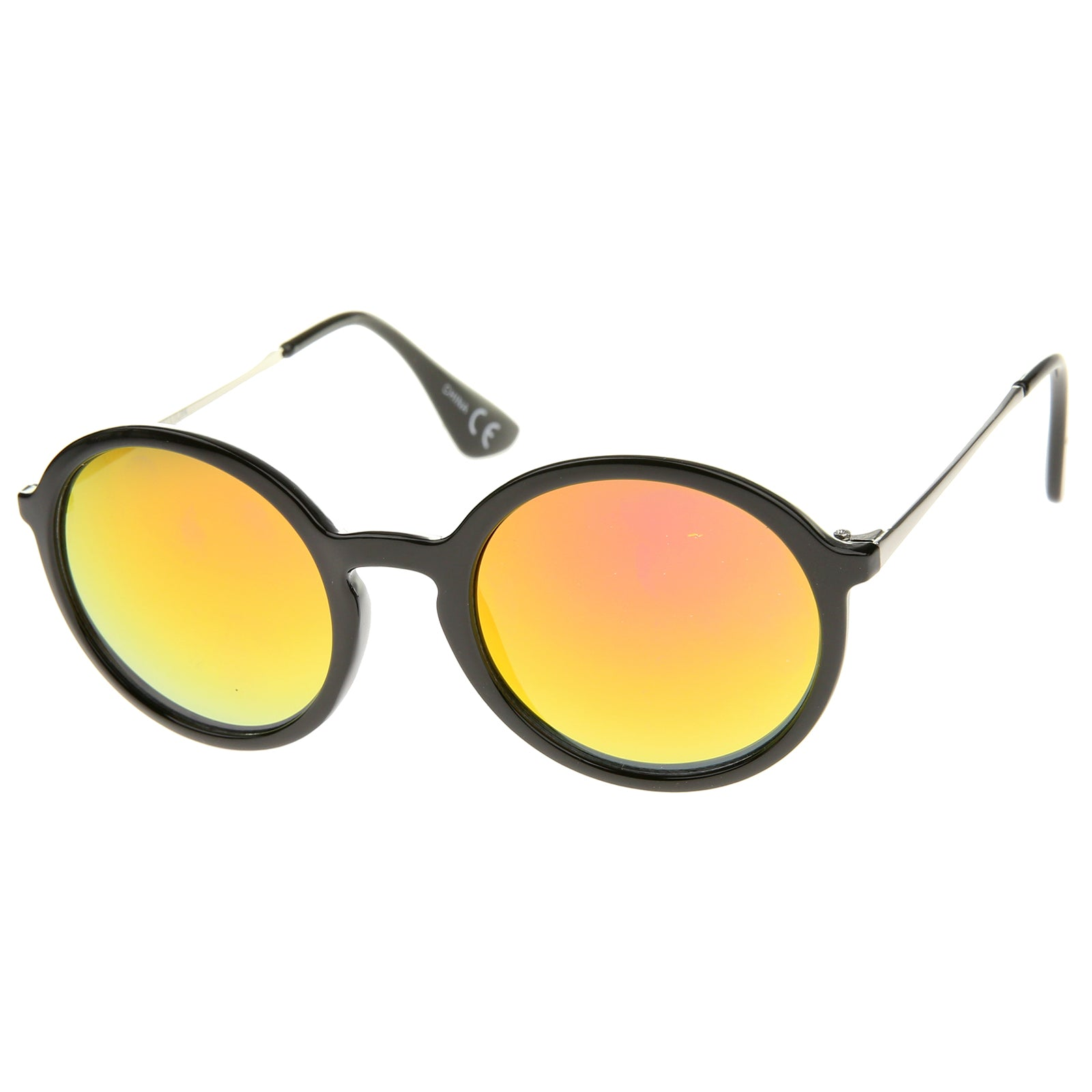 Mid Sized Modern Metal Temple Mirror Lens Round Sunglasses 49mm - sunglass.la - 22