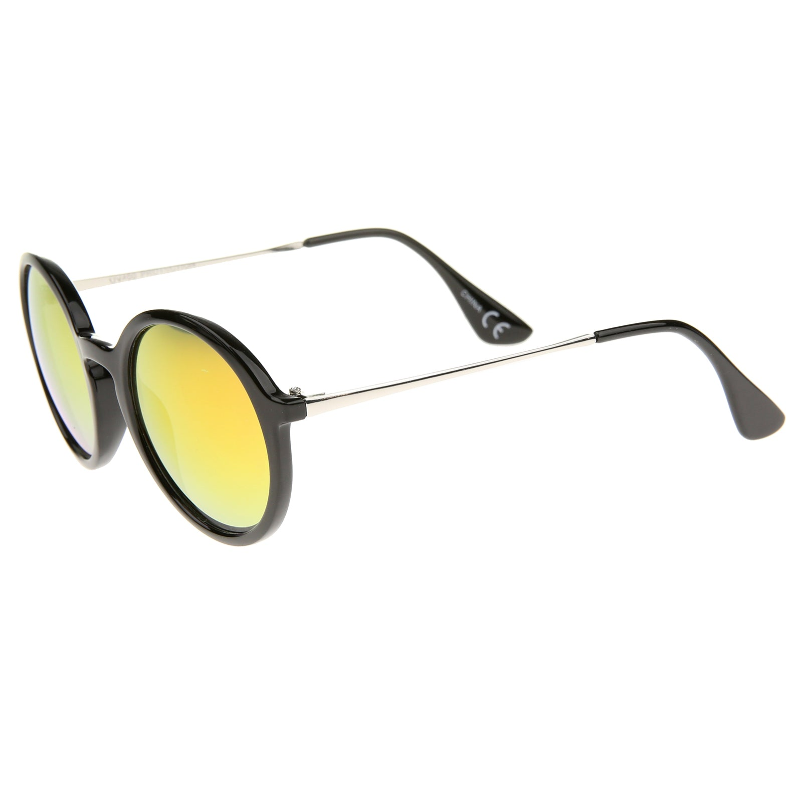 Mid Sized Modern Metal Temple Mirror Lens Round Sunglasses 49mm - sunglass.la - 23