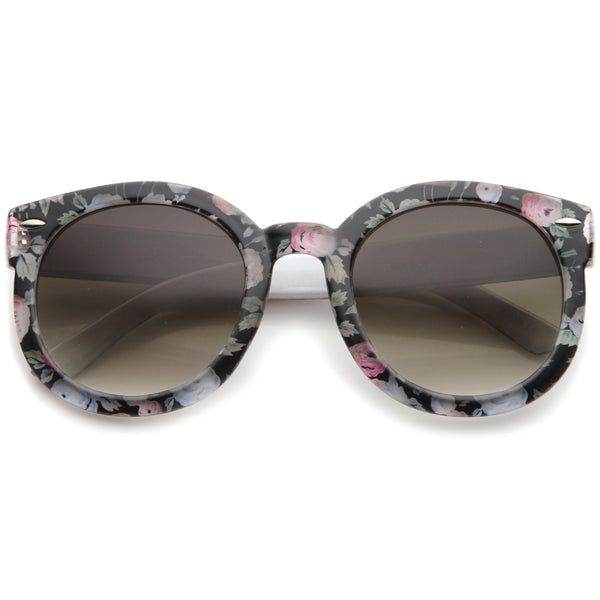 Women's Fashion Floral Printed Gradient Lens Oversized Round Sunglasses 53mm - sunglass.la - 1