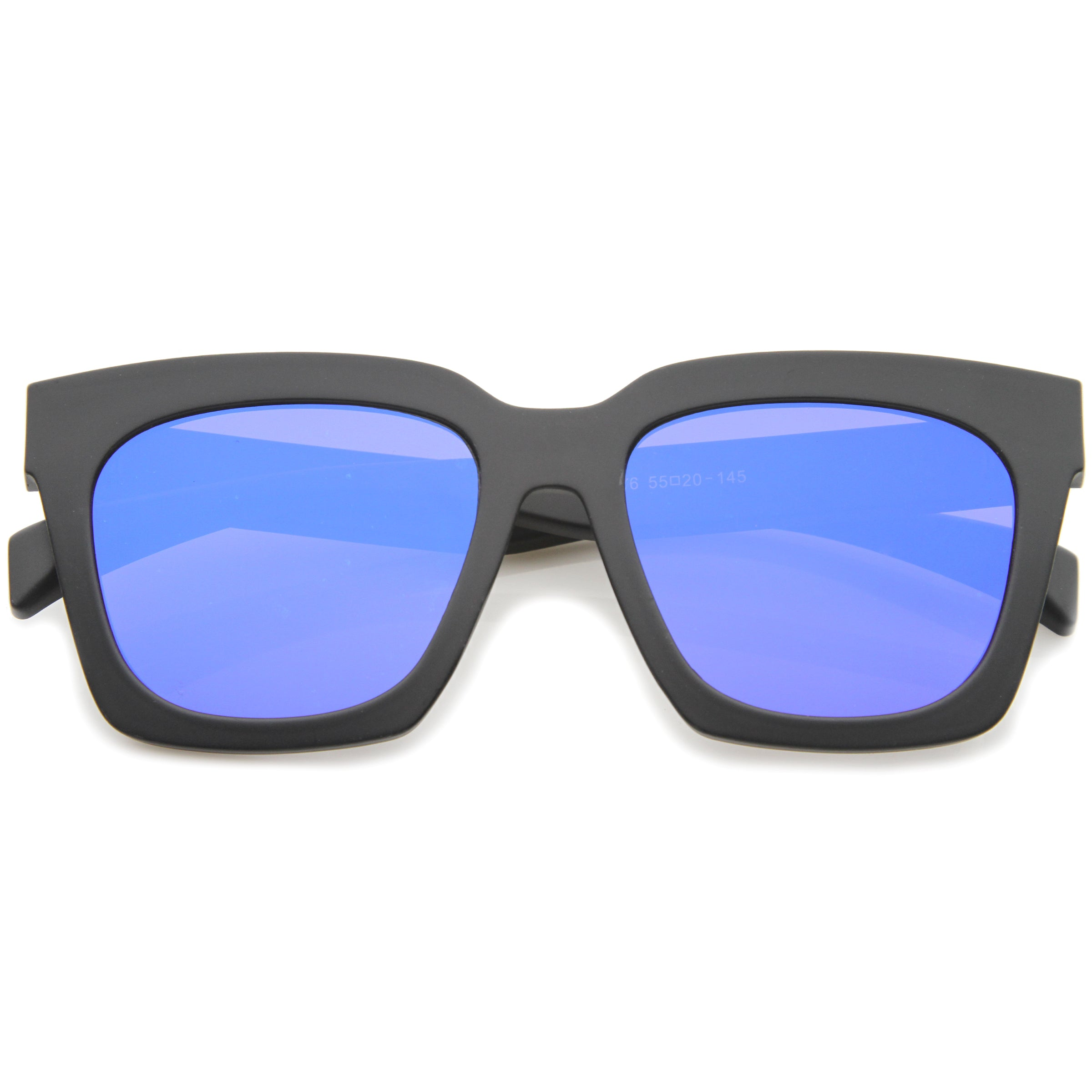Retro Matte Horn Rimmed Colored Mirror Flat Lens Oversize Square Sunglasses 54mm - sunglass.la - 1