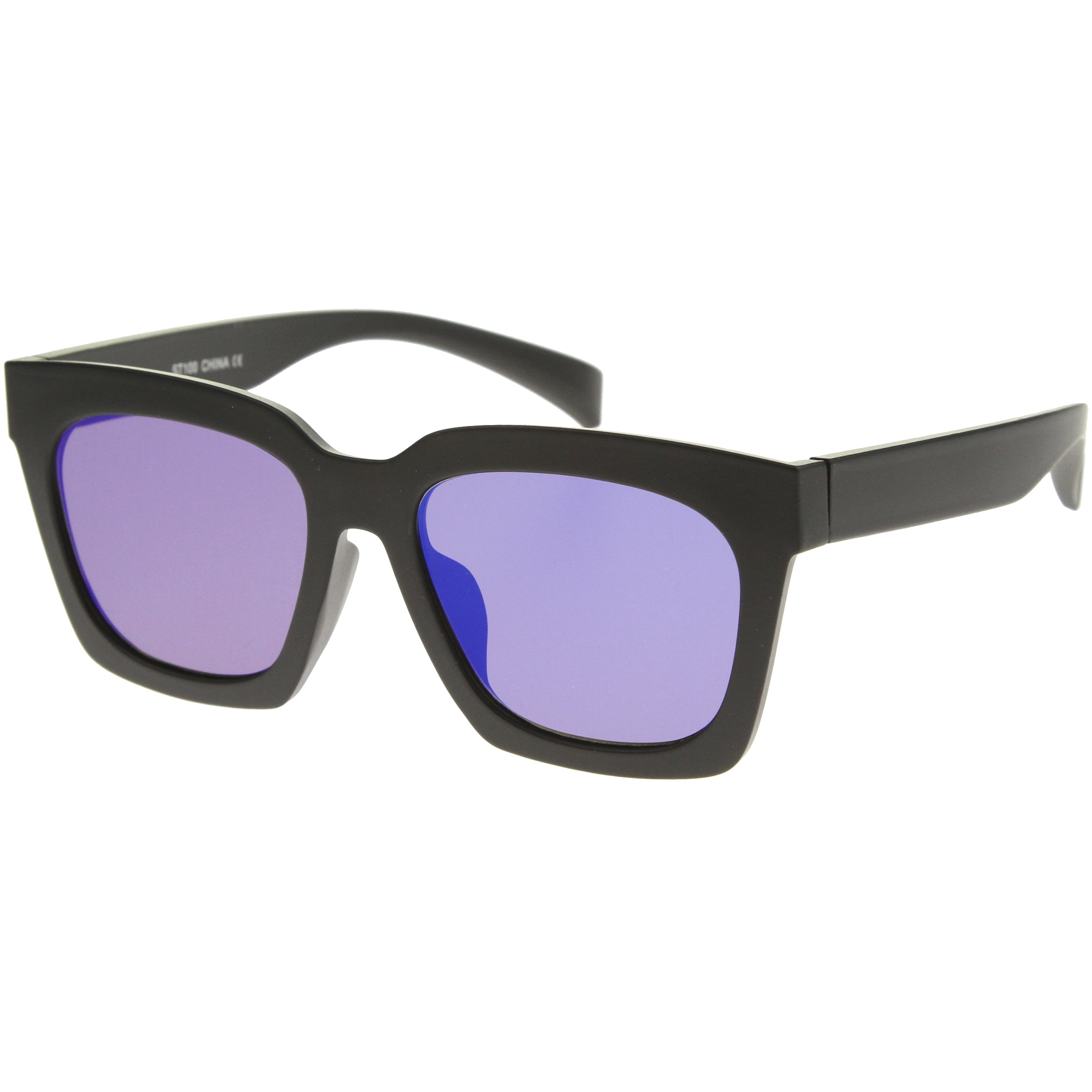 Retro Matte Horn Rimmed Colored Mirror Flat Lens Oversize Square Sunglasses 54mm - sunglass.la - 2
