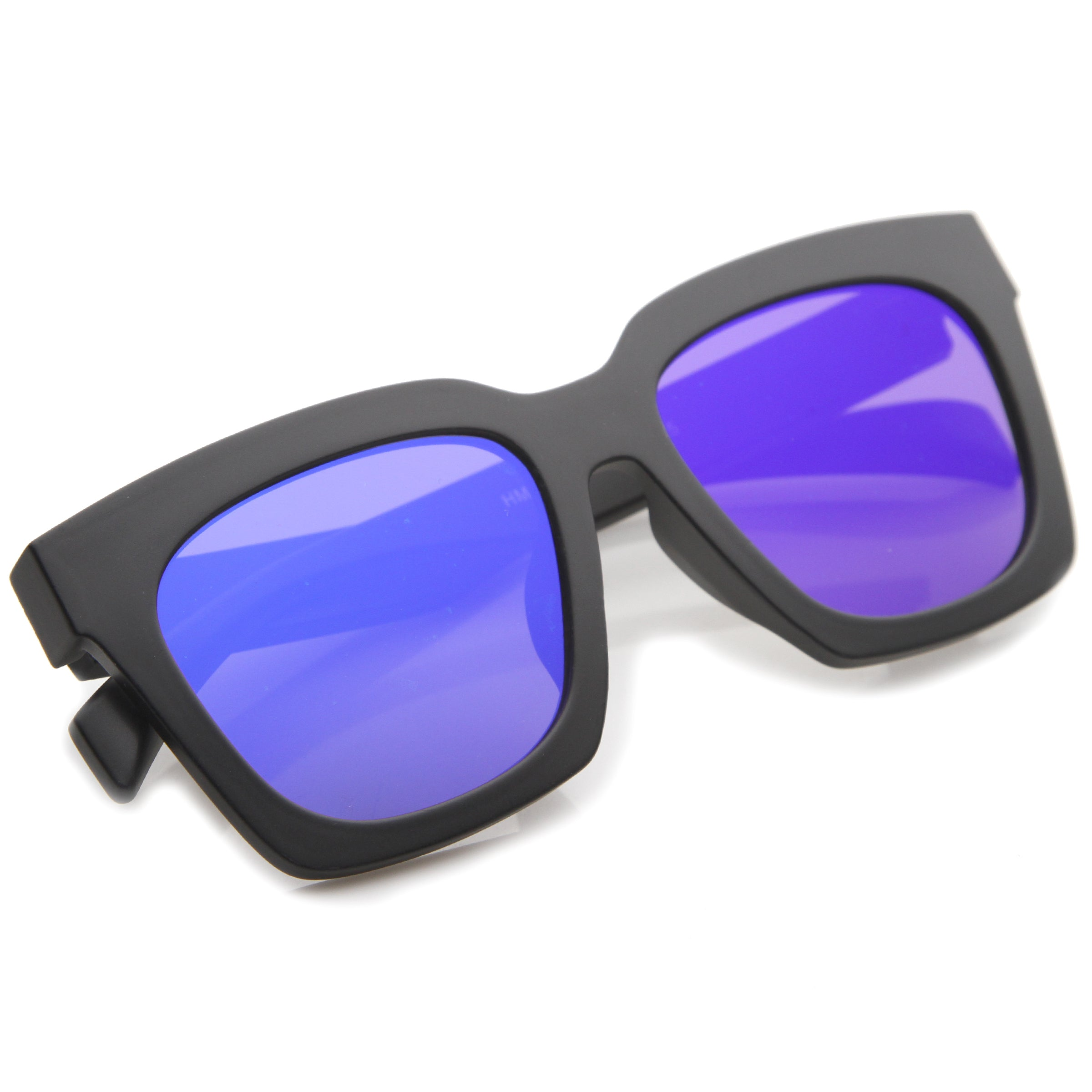 Retro Matte Horn Rimmed Colored Mirror Flat Lens Oversize Square Sunglasses 54mm - sunglass.la - 4