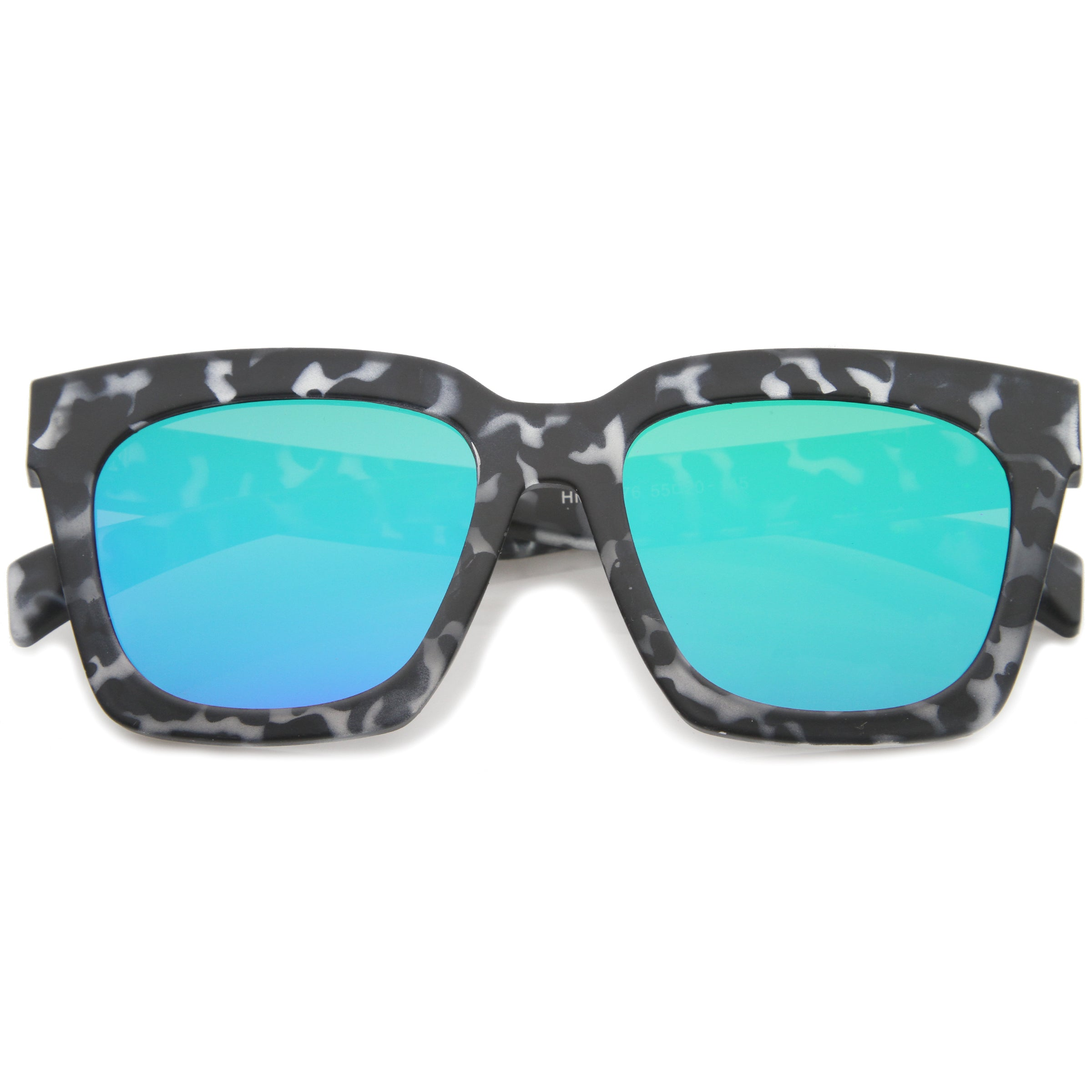 Retro Matte Horn Rimmed Colored Mirror Flat Lens Oversize Square Sunglasses 54mm - sunglass.la - 5