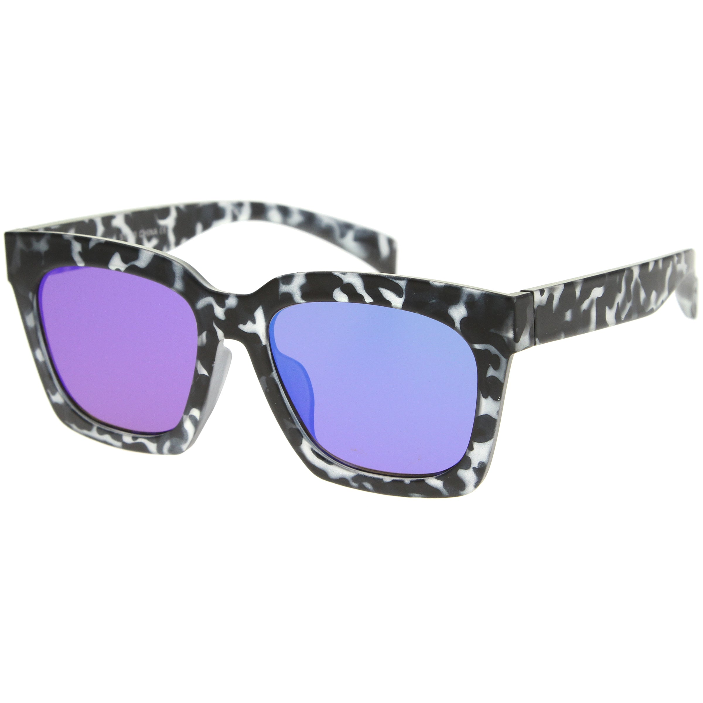 Retro Matte Horn Rimmed Colored Mirror Flat Lens Oversize Square Sunglasses 54mm - sunglass.la - 6