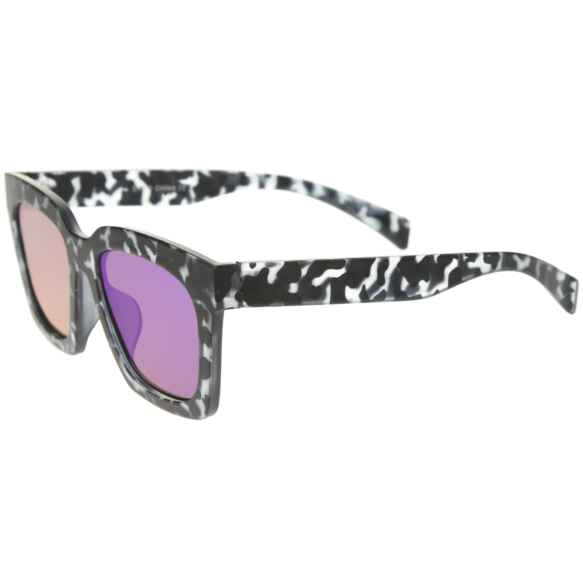 Retro Matte Horn Rimmed Colored Mirror Flat Lens Oversize Square Sunglasses 54mm - sunglass.la - 7