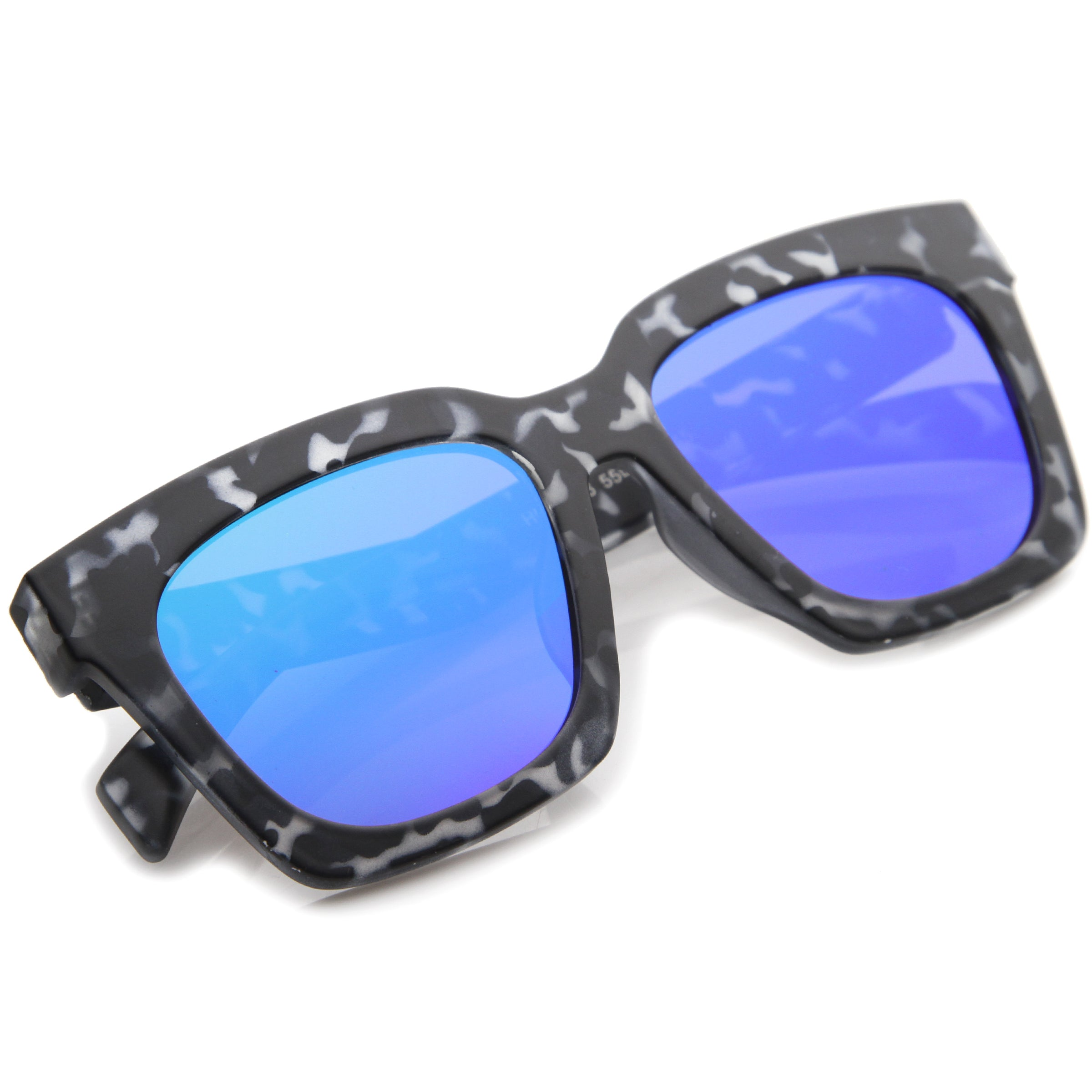 Retro Matte Horn Rimmed Colored Mirror Flat Lens Oversize Square Sunglasses 54mm - sunglass.la - 8