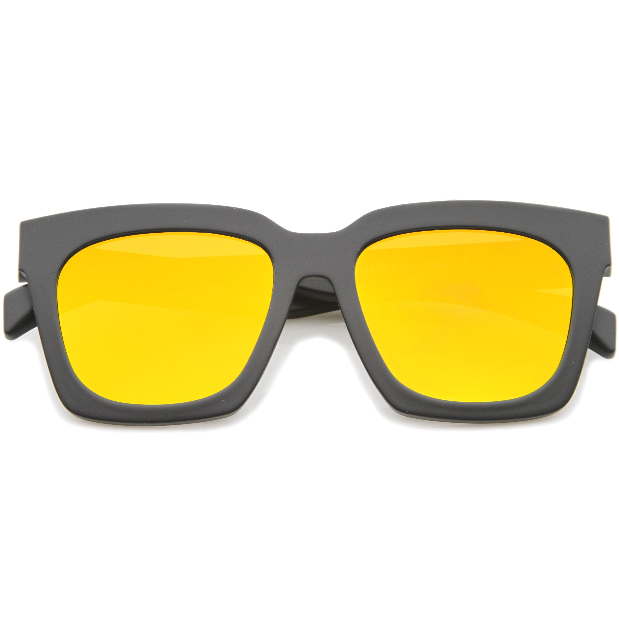 Retro Matte Horn Rimmed Colored Mirror Flat Lens Oversize Square Sunglasses 54mm - sunglass.la - 9