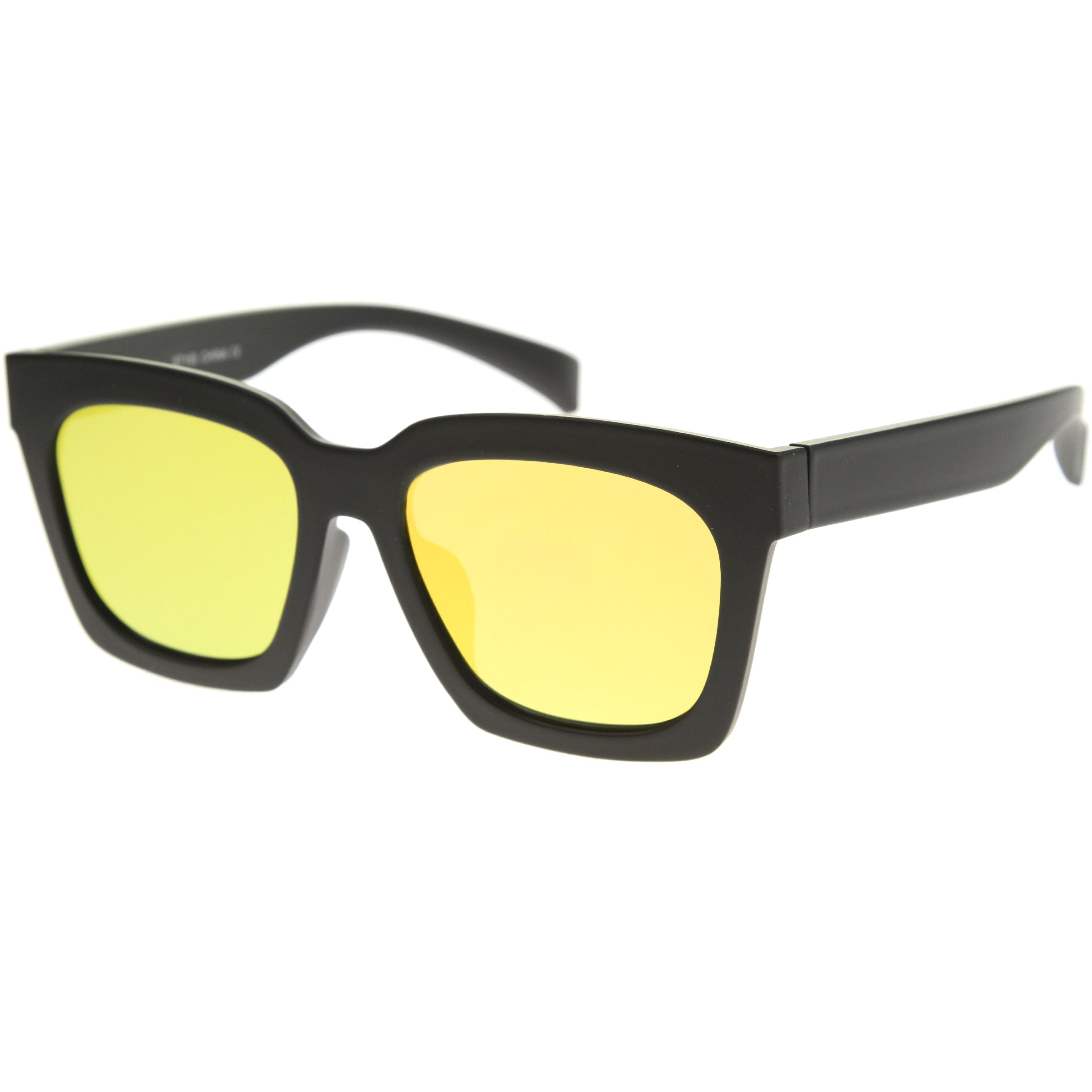 Retro Matte Horn Rimmed Colored Mirror Flat Lens Oversize Square Sunglasses 54mm - sunglass.la - 10
