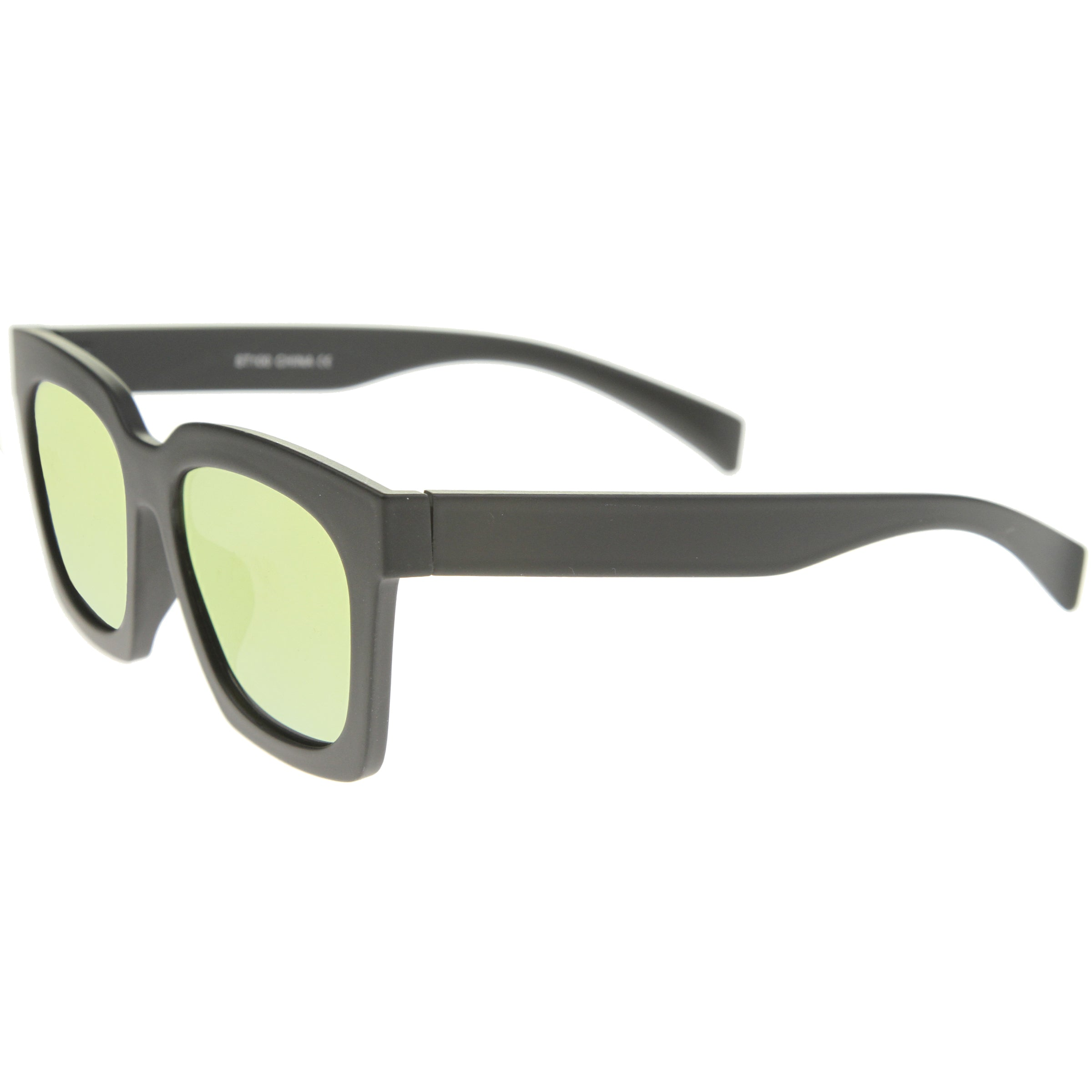 Retro Matte Horn Rimmed Colored Mirror Flat Lens Oversize Square Sunglasses 54mm - sunglass.la - 11