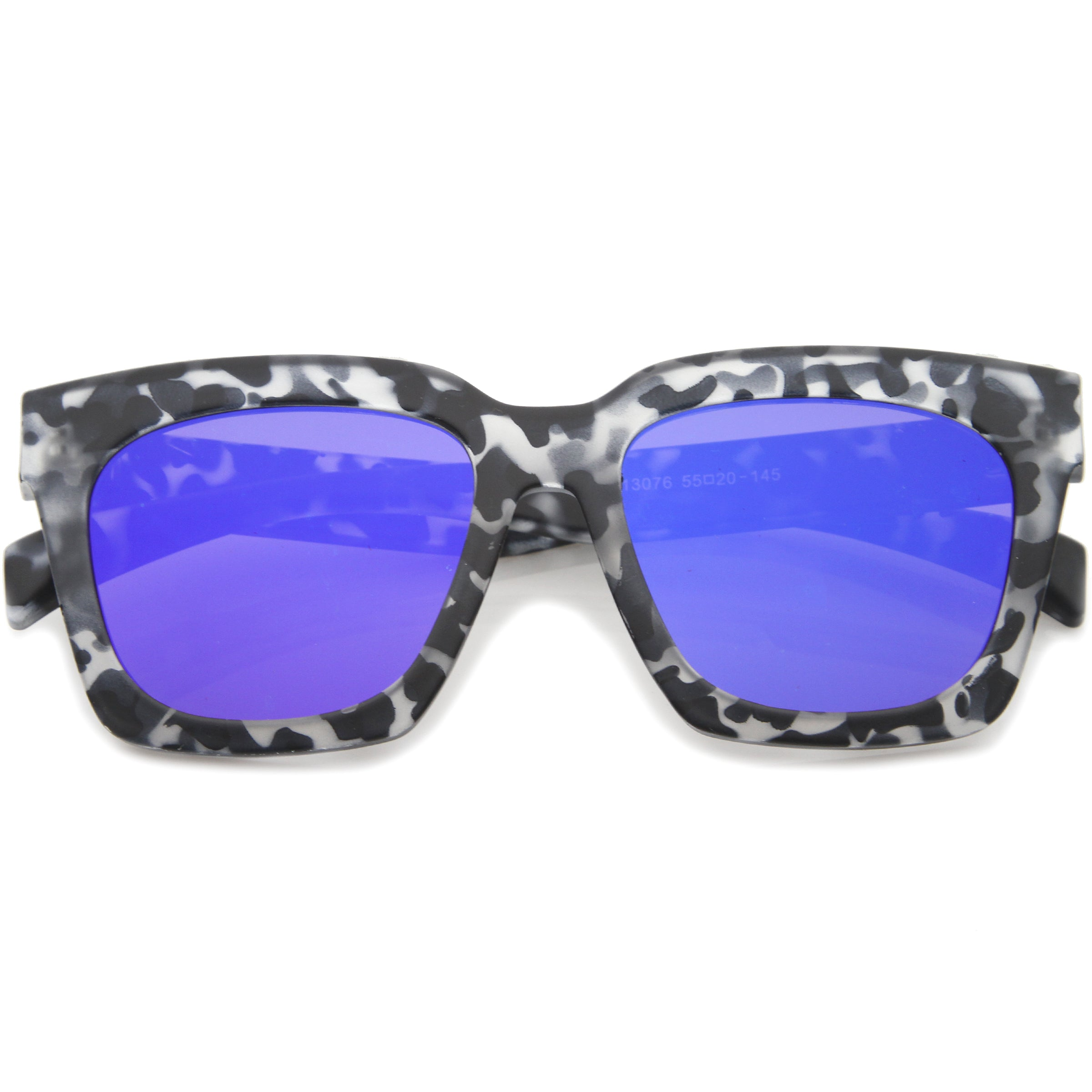 Retro Matte Horn Rimmed Colored Mirror Flat Lens Oversize Square Sunglasses 54mm - sunglass.la - 13
