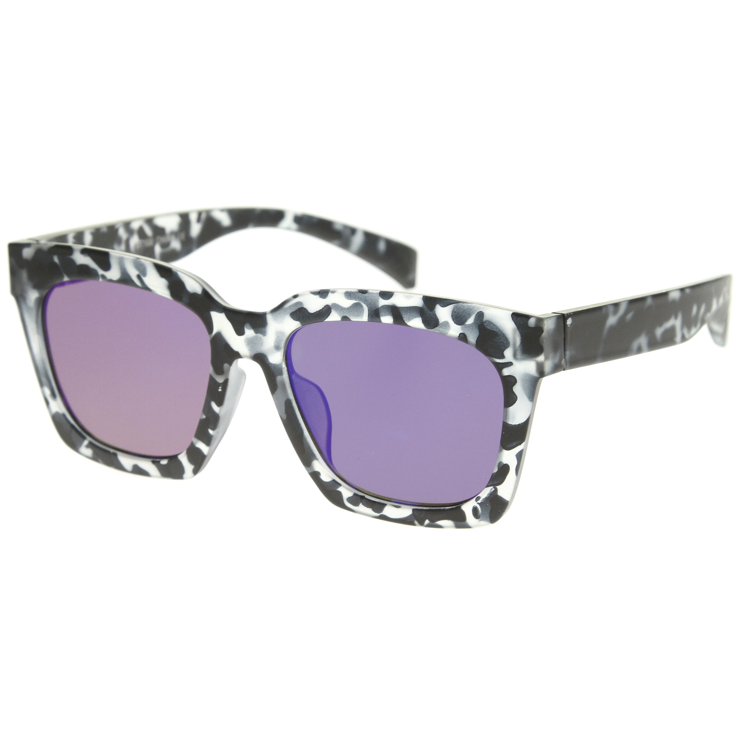 Retro Matte Horn Rimmed Colored Mirror Flat Lens Oversize Square Sunglasses 54mm - sunglass.la - 14