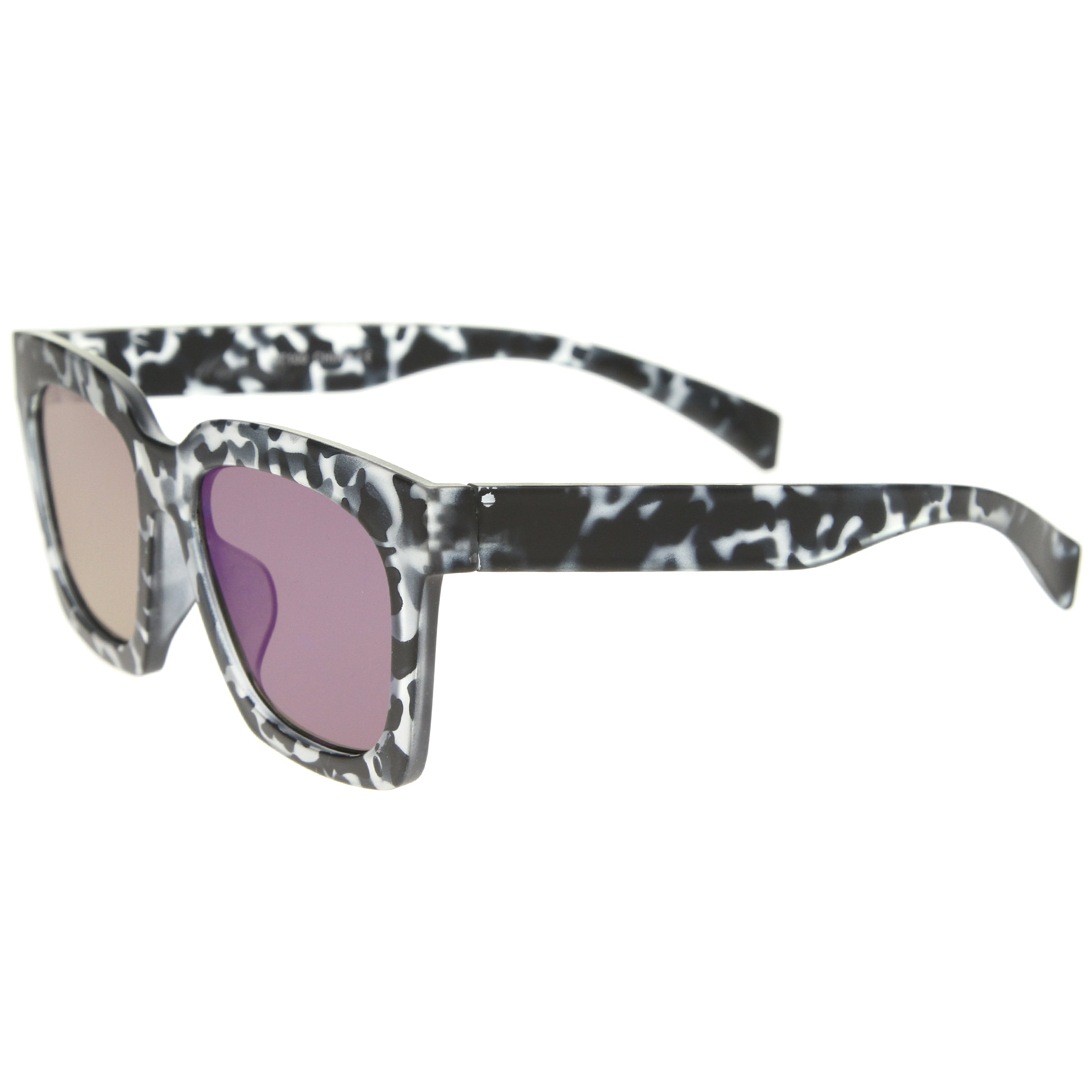 Retro Matte Horn Rimmed Colored Mirror Flat Lens Oversize Square Sunglasses 54mm - sunglass.la - 15