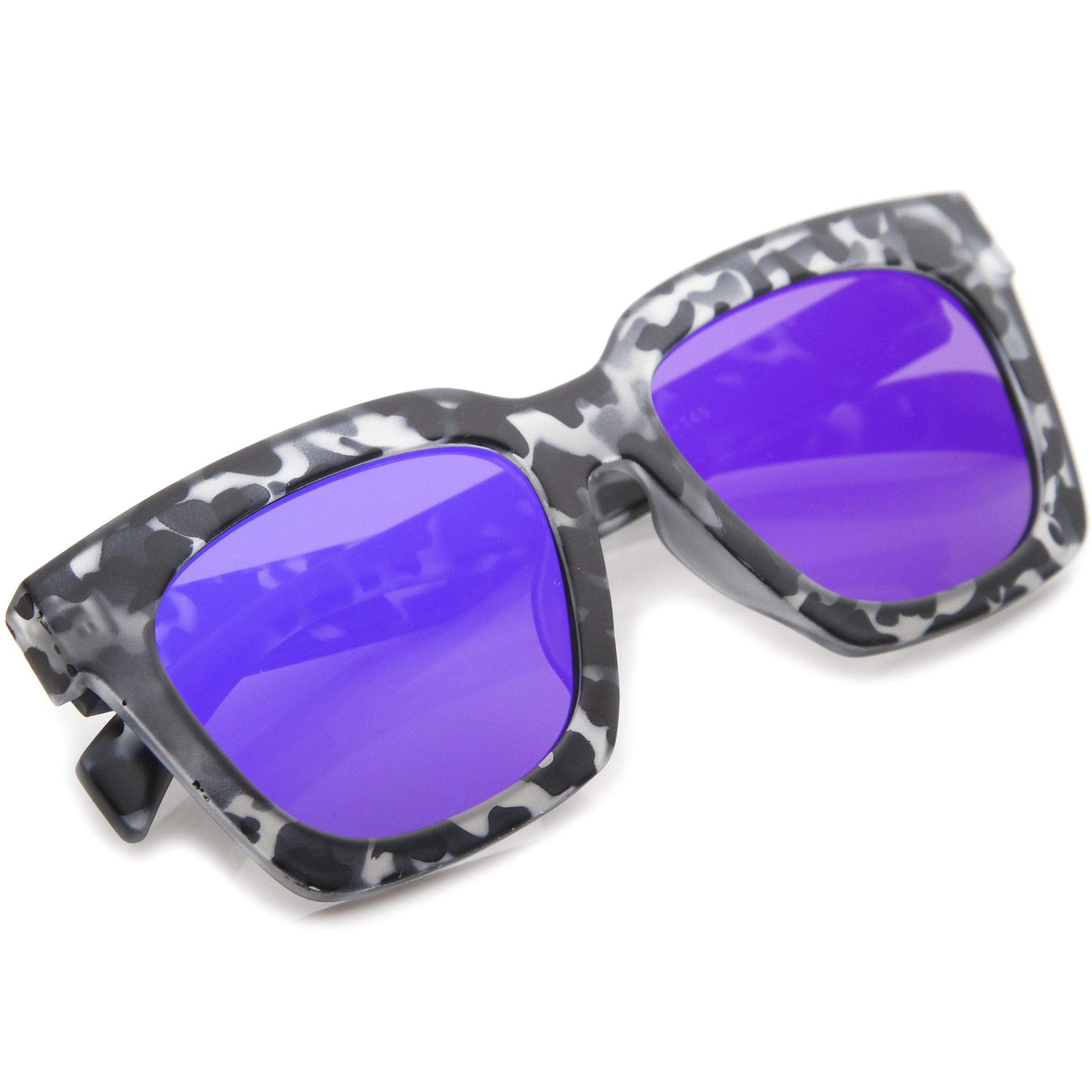 Retro Matte Horn Rimmed Colored Mirror Flat Lens Oversize Square Sunglasses 54mm - sunglass.la - 16