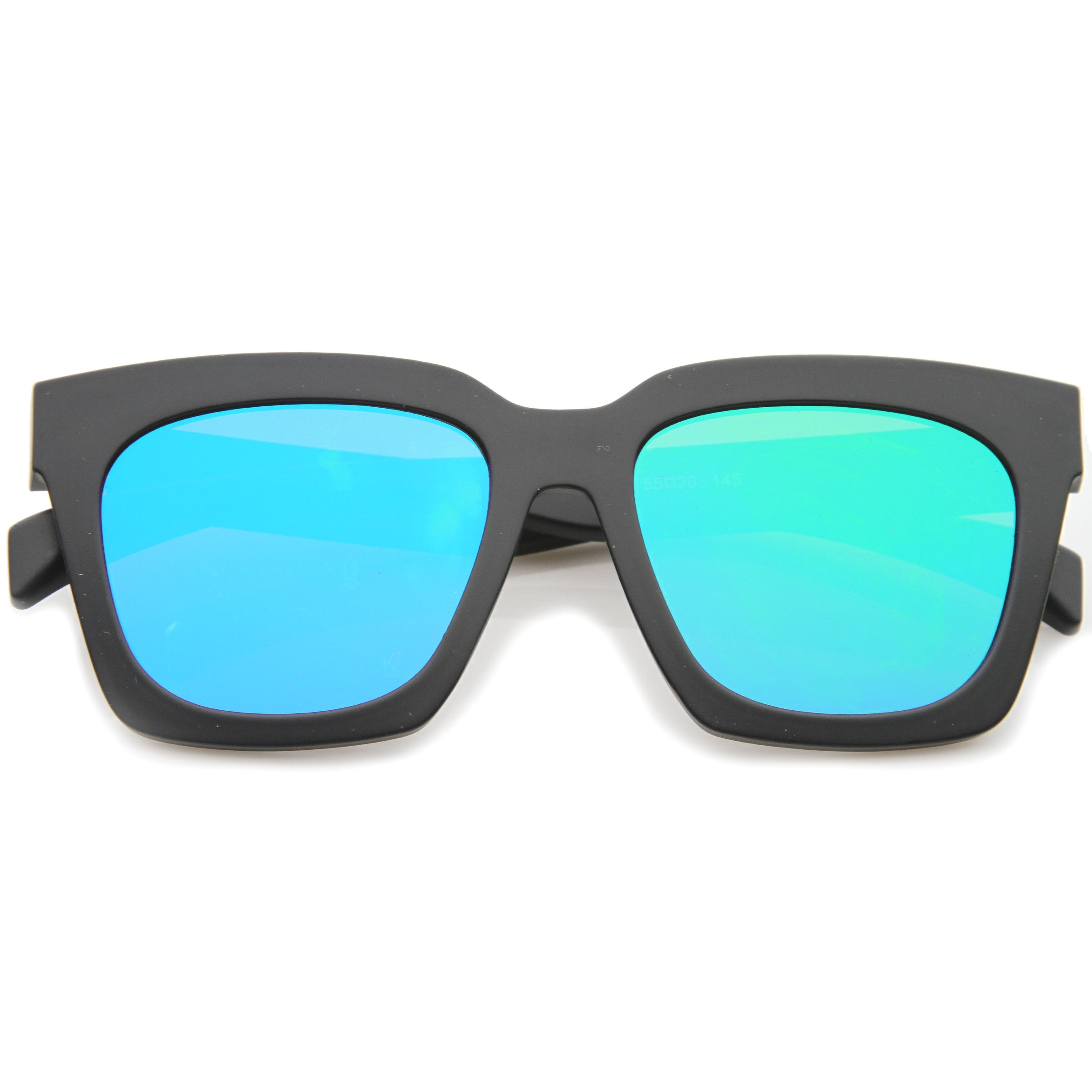 Retro Matte Horn Rimmed Colored Mirror Flat Lens Oversize Square Sunglasses 54mm - sunglass.la - 17